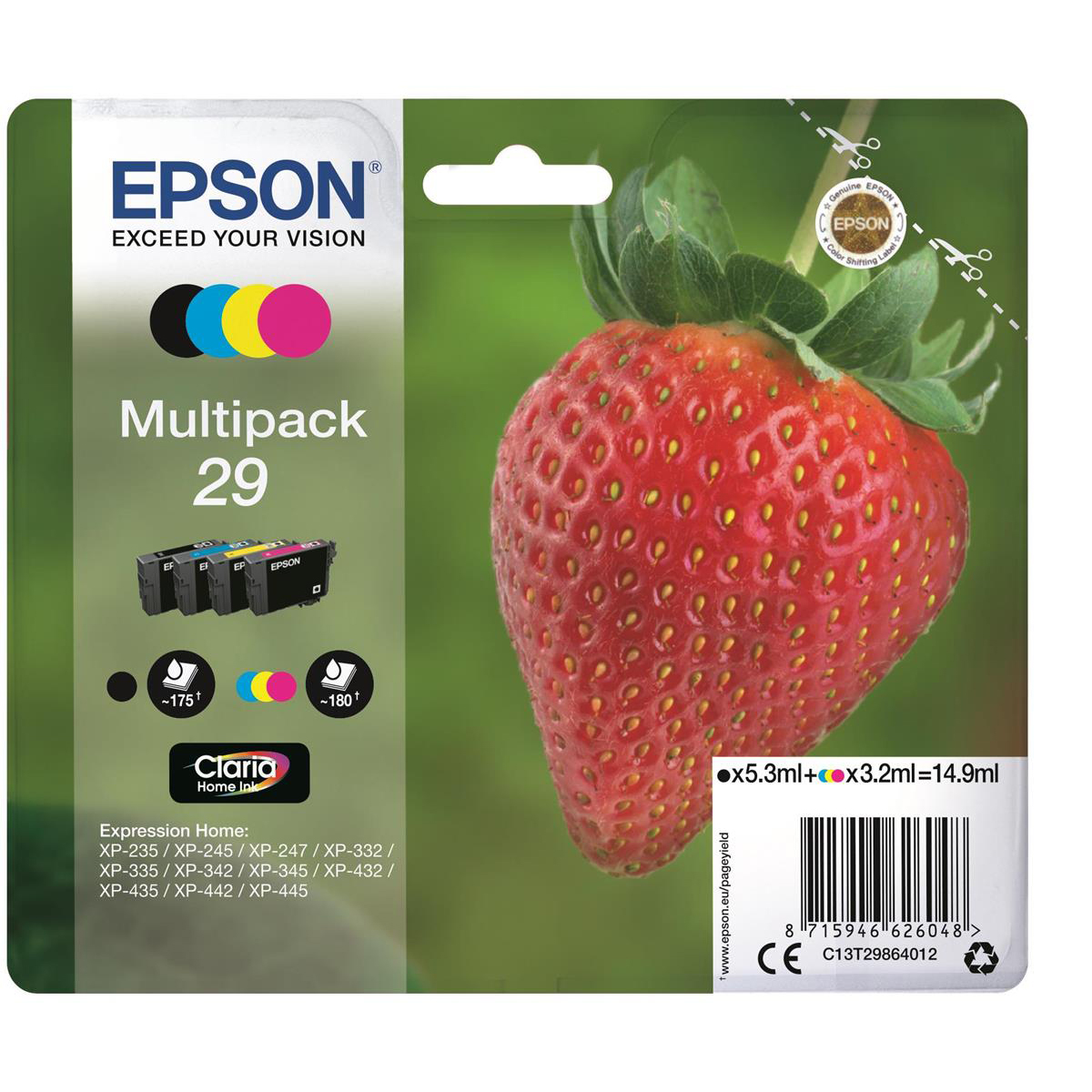 Epson 29 IJ Cart StrawberryPageLife 175pp Black 5.3ml 180pp Cyan/Mag/Yel 3.2ml Ref C13T29864012 [Pack 4]