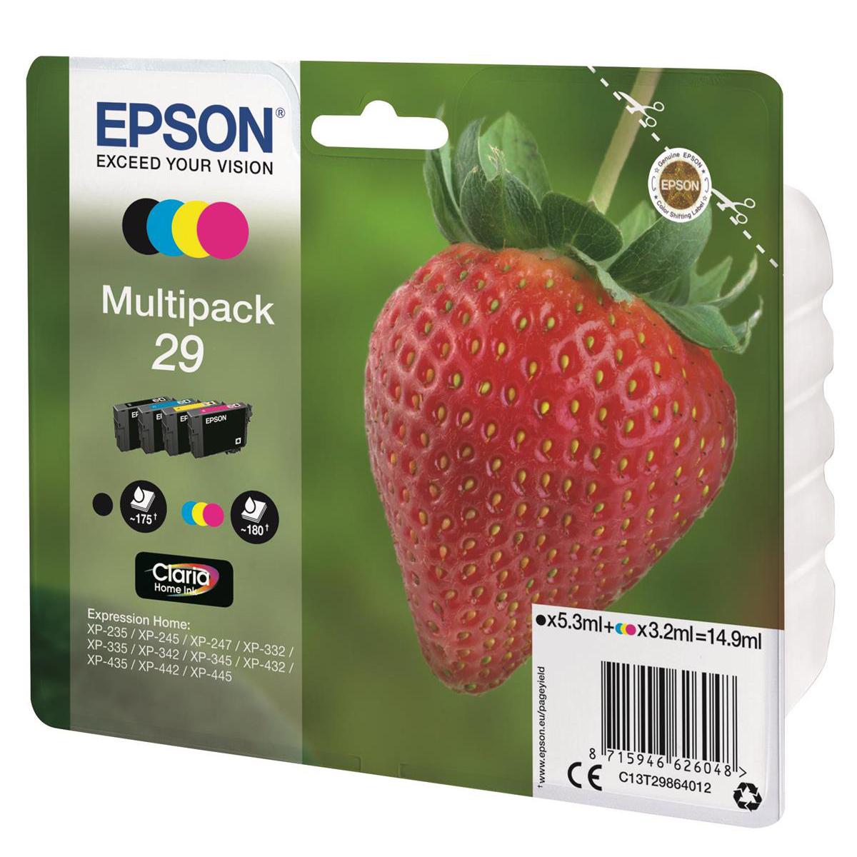 Epson 29 IJ Cart StrawberryPageLife 175pp Black 5.3ml 180pp Cyan/Mag/Yel 3.2ml Ref C13T29864012 Pack 4