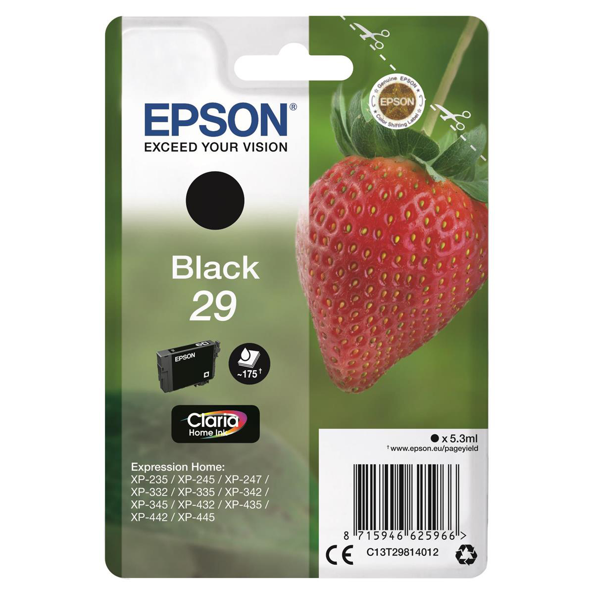 [ EX ]  Epson 29 InkJet Cartridge Strawberry Page Life 175pp 5.3ml Black Ref C13T29814012