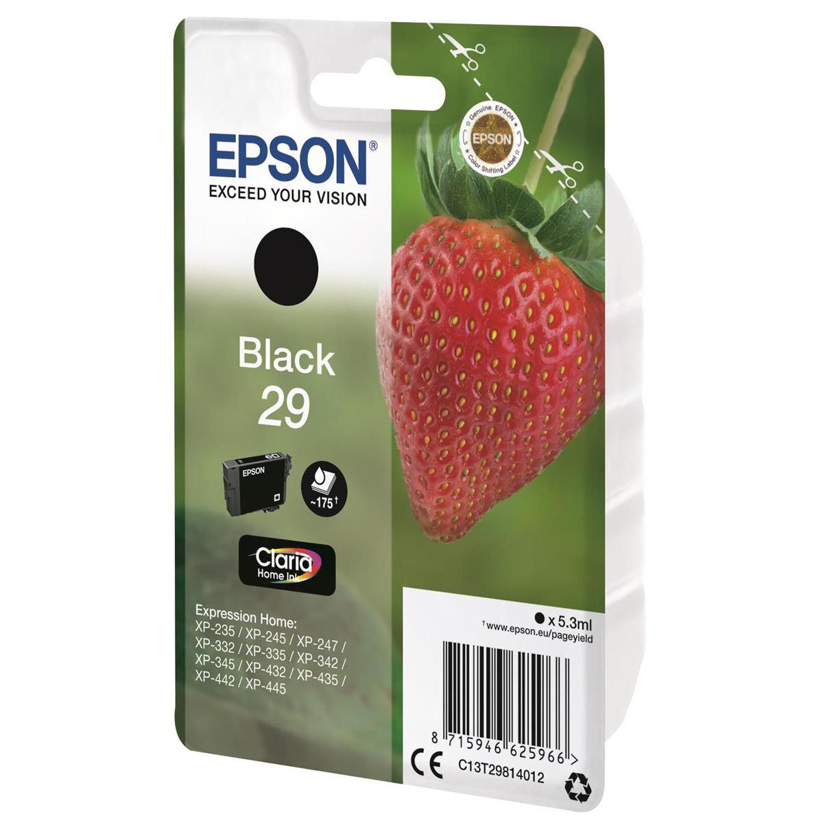 Epson 29 InkJet Cartridge Strawberry Page Life 175pp 5.3ml Black Ref C13T29814012
