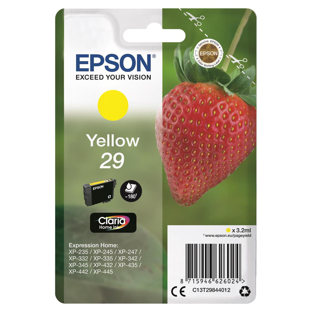 Epson 29 InkJet Cartridge Strawberry Page Life 180pp 3.2ml Yellow Ref C13T29844012