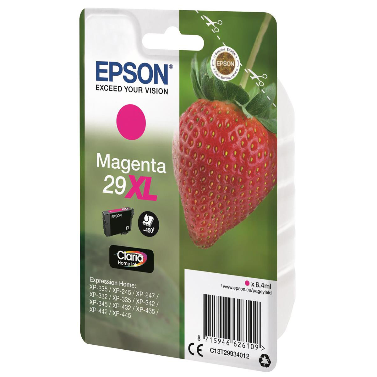 Epson 29XL InkJet Cartridge Strawberry High Yield Page Life 450pp 6.4ml Magenta Ref C13T29934012