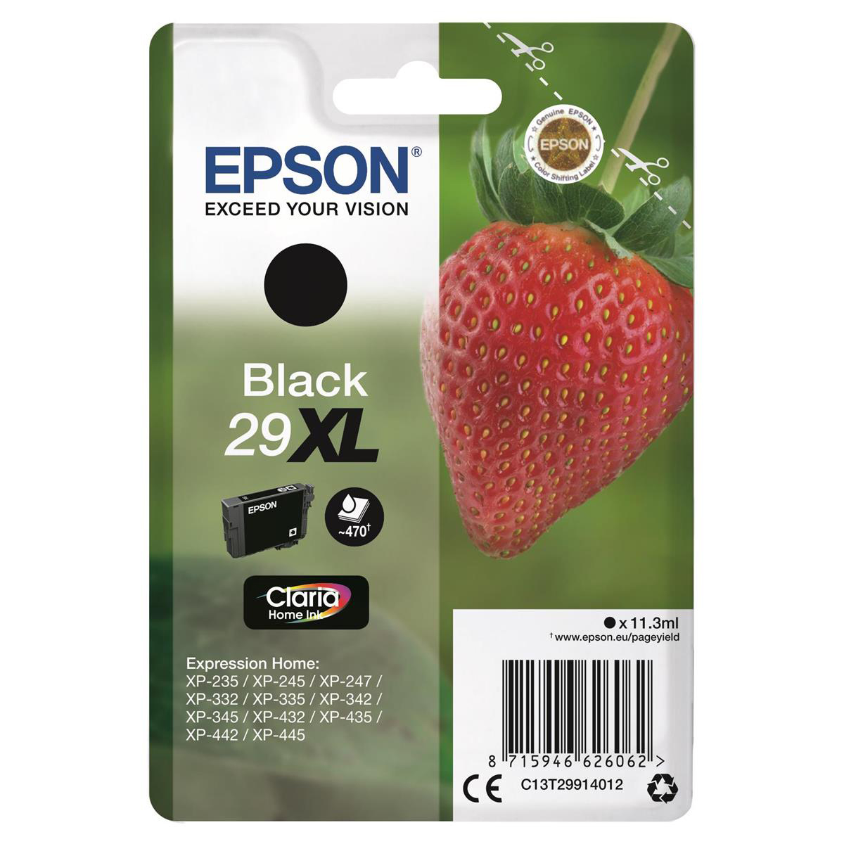 Epson 29XL InkJet Cartridge Strawberry High Yield Page Life 470pp 11.3ml Black Ref C13T29914012