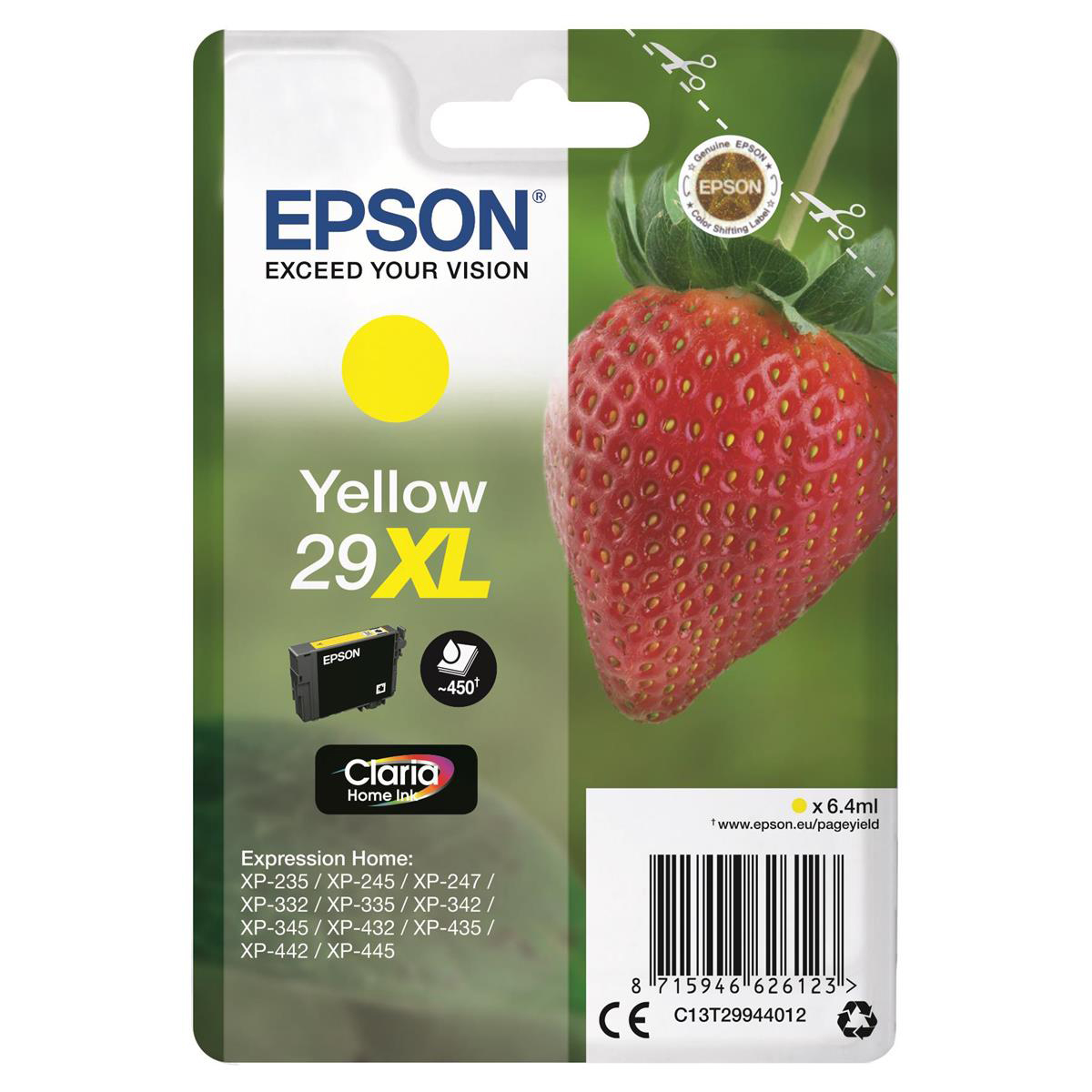 Epson 29XL InkJet Cartridge Strawberry High Yield Page Life 450pp 6.4ml Yellow Ref C13T29944012