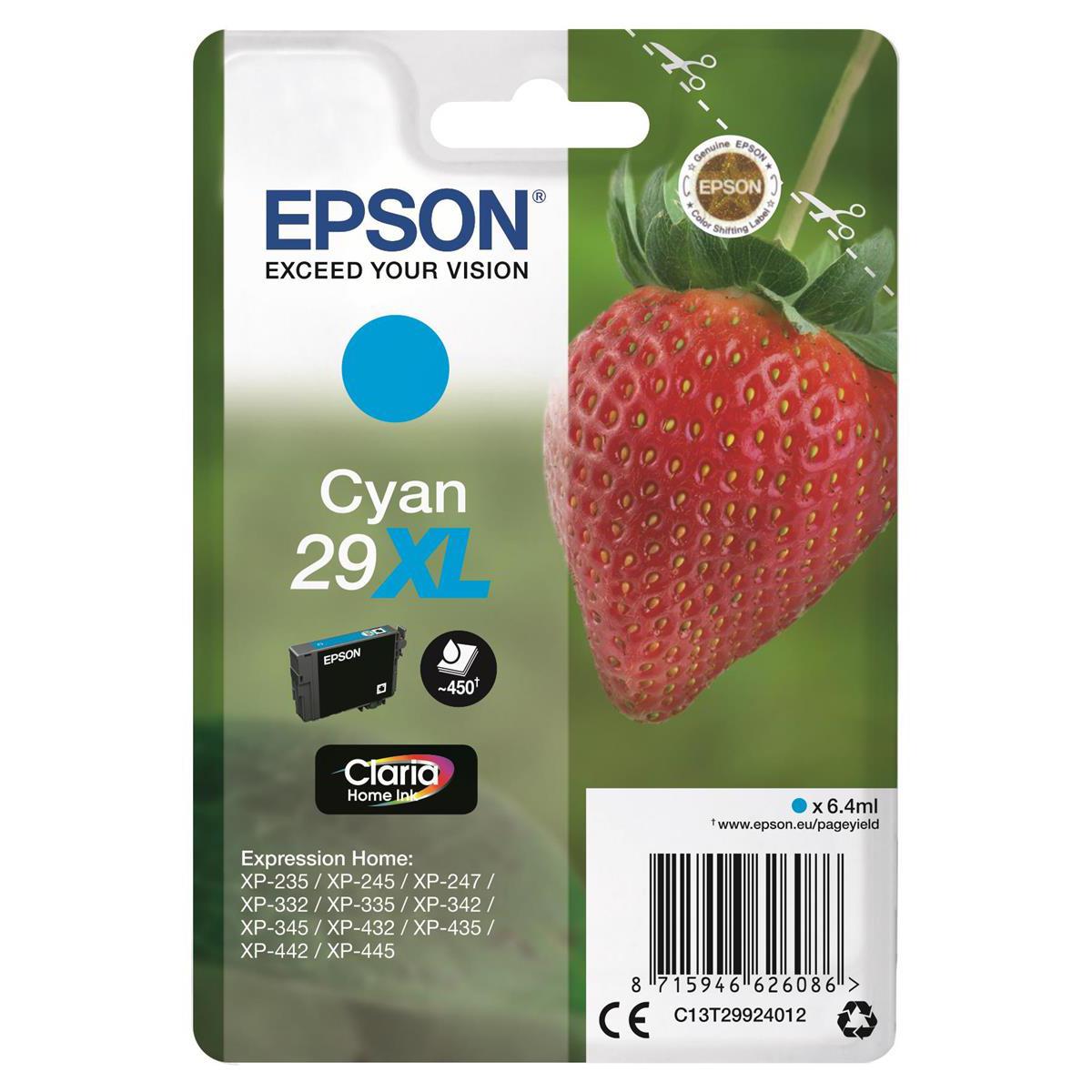 Epson 29XL InkJet Cartridge Strawberry High Yield Page Life 450pp 6.4ml Cyan Ref C13T29924012