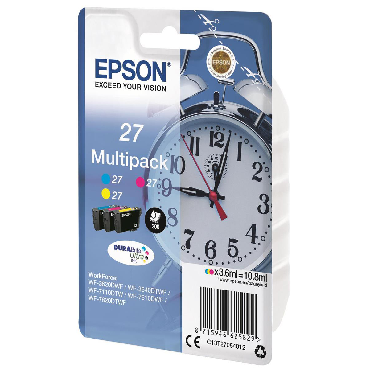 Epson 27 InkJet Cartridge Alarm Clock Page Life 300pp 3.6ml Cyan/Magenta/Yellow Ref C13T27054012