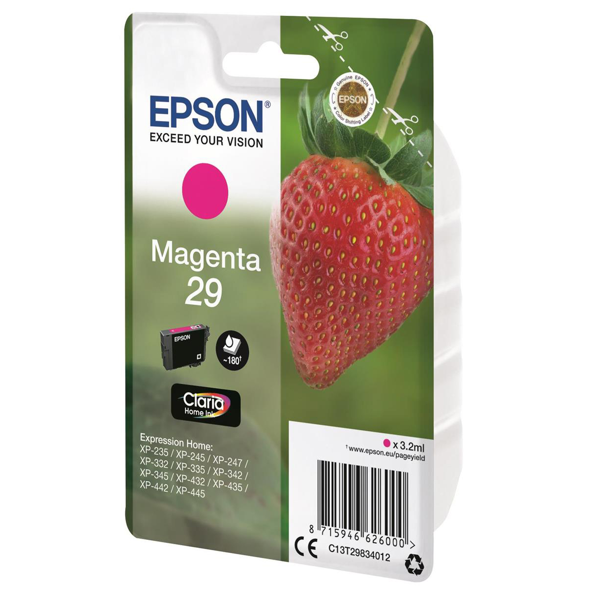 Epson 29 InkJet Cartridge Strawberry Page Life 180pp 3.2ml Magenta Ref C13T29834012