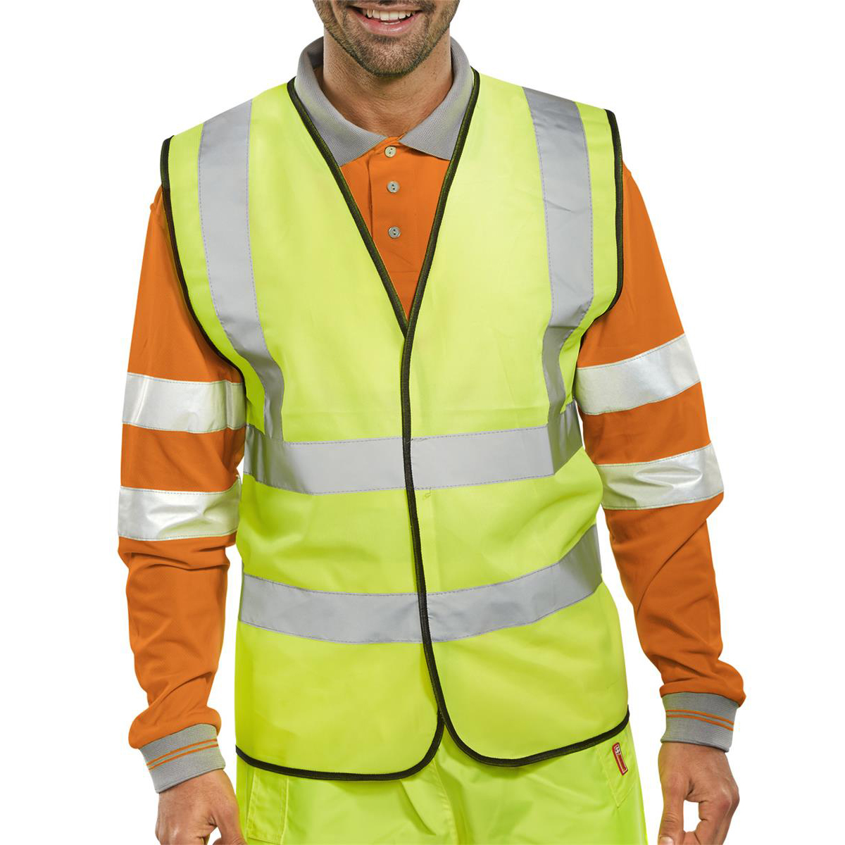 Bodywarmers Bseen High Visibility Waistcoat Full App Medium Yellow/Black Piping Ref WCENGM *Up to 3 Day Leadtime*