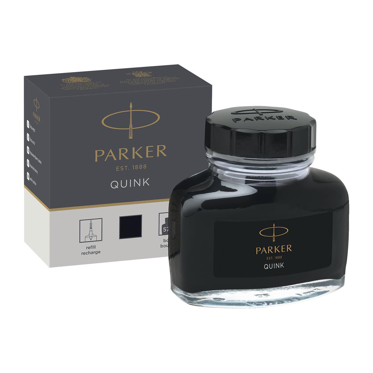 Parker Quink Bottled Ink for Fountain Pens 57ml Black Ref 1950375