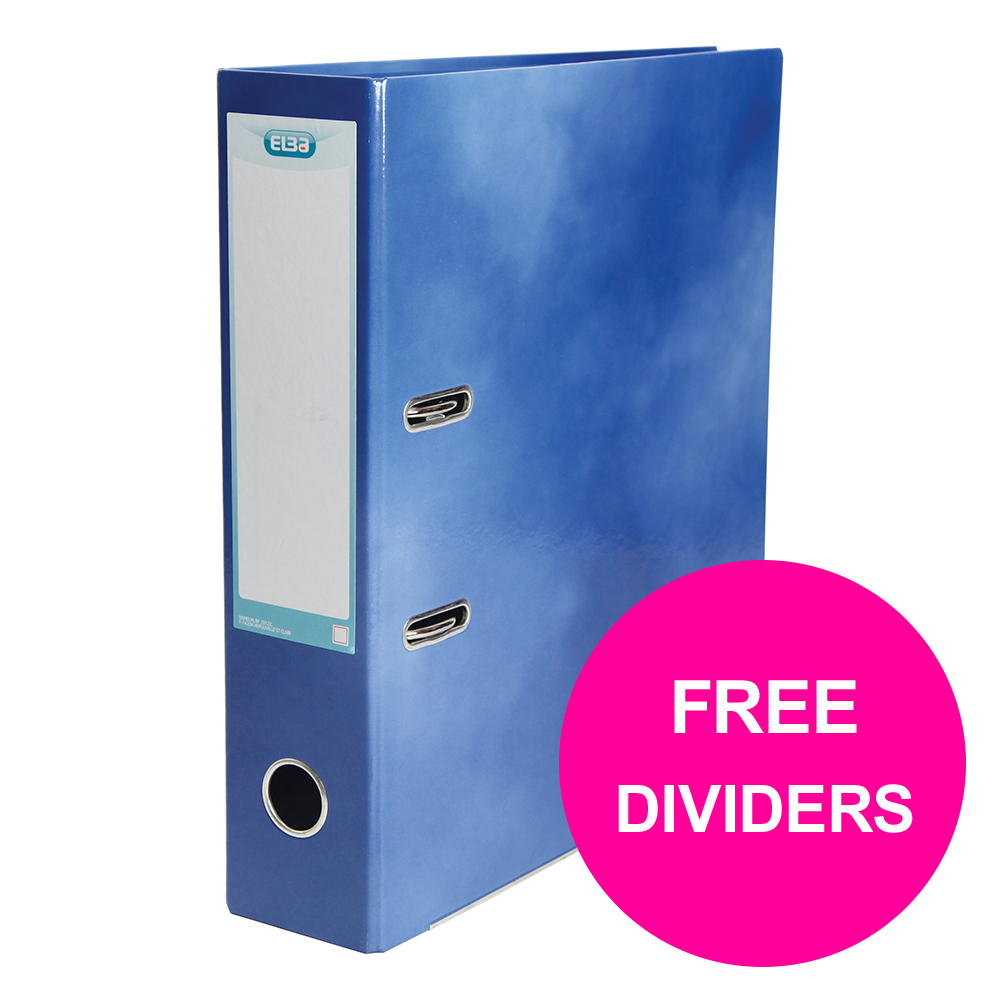 Lever arch file Elba Classy Lever Arch File 70mm Cap A4+ Blue Ref 400021003_XX1220 FREE Pack 10-part Dividers Jan 12/20