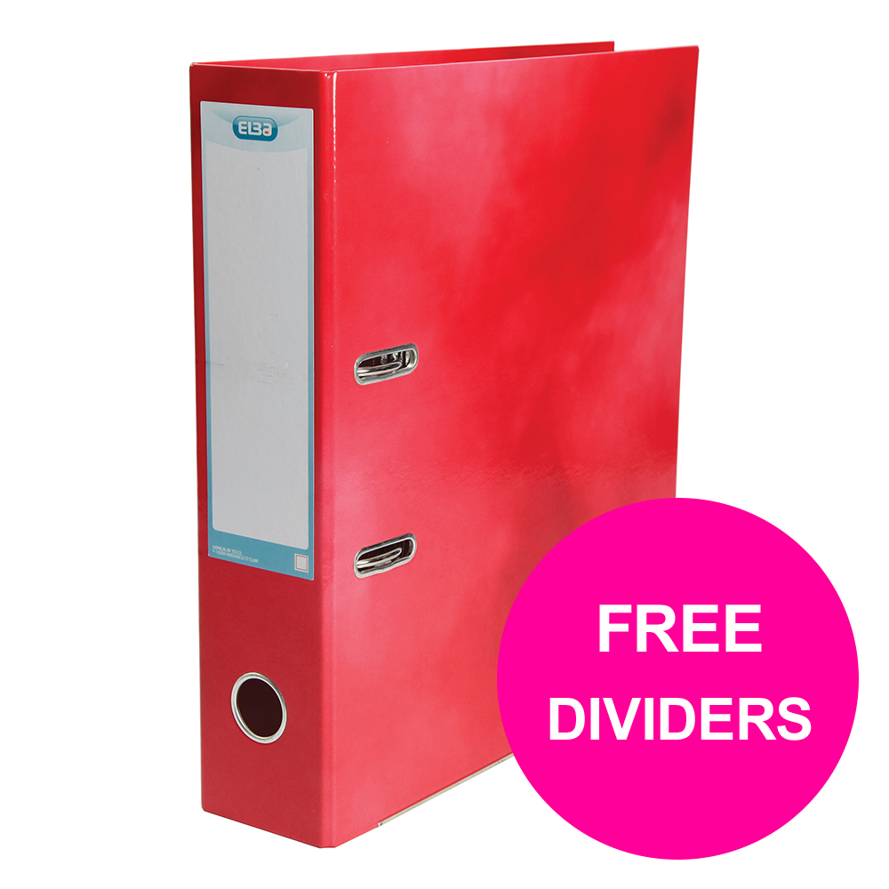 Lever arch file Elba Classy Lever Arch File 70mm Cap A4+ Red Ref 400021004_XX1220 FREE Pack 10-part Dividers Jan 12/20