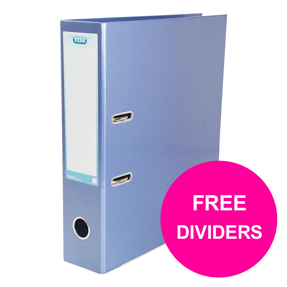 Lever arch file Elba Classy Lever Arch File 70mm Cap A4+ Met Blue Ref 400021023_XX1220 FREE Pk 10-pt Dividers Jan 12/20
