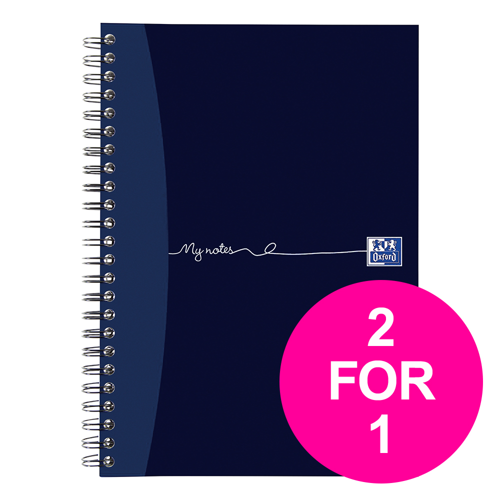 Paper pads or notebooks OxfordMyNotes NbkWbnd 90gsm RldMgn Perfd Pched 2 Holes 200pg A5 Ref 100082372 [Pack 3] [2 for 1] Jan12/20