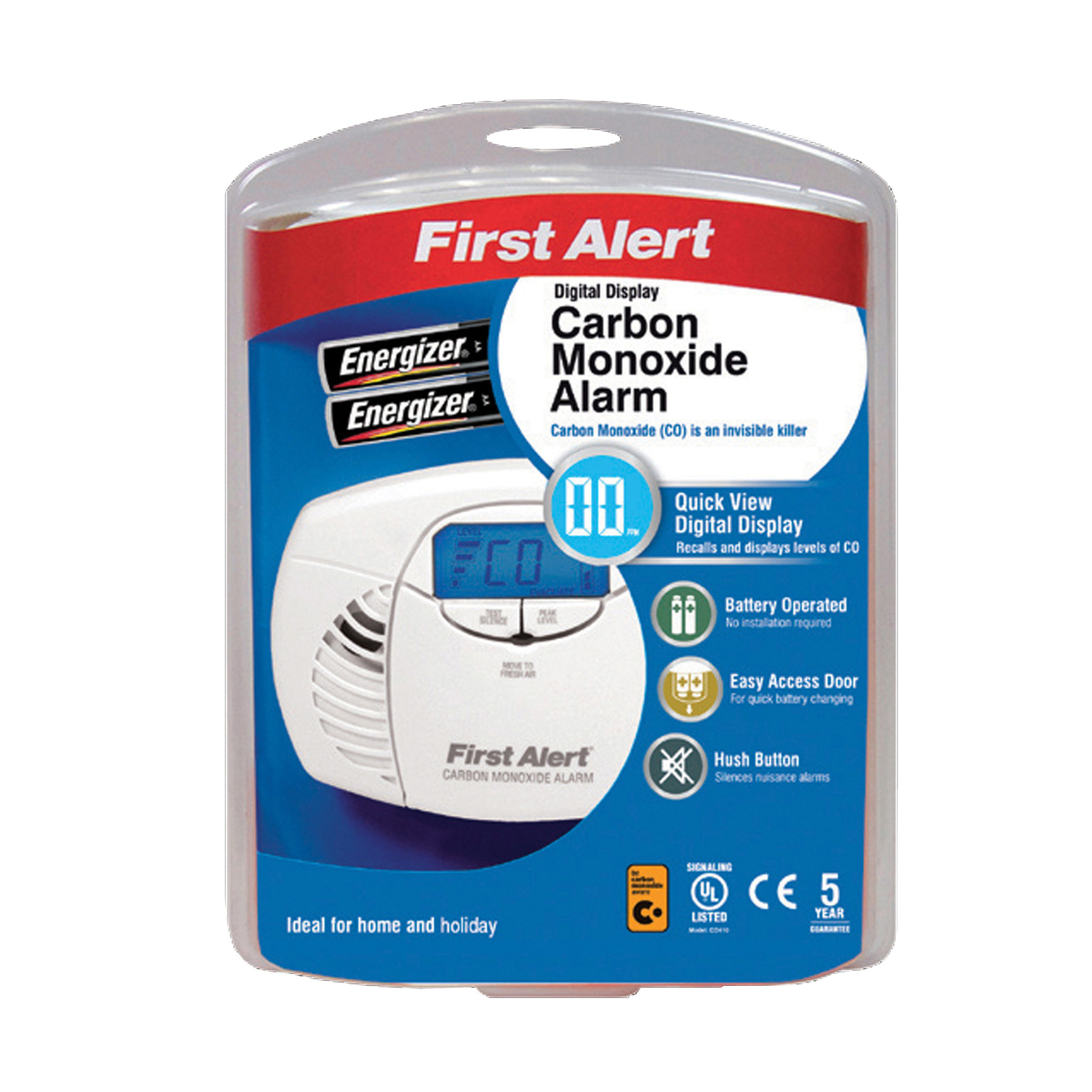 Carbon Monoxide Alarms FireAngel First Alert Carbon Monoxide Detector Alarm Battery Powered LED and Fittings 85dB Ref FT0410