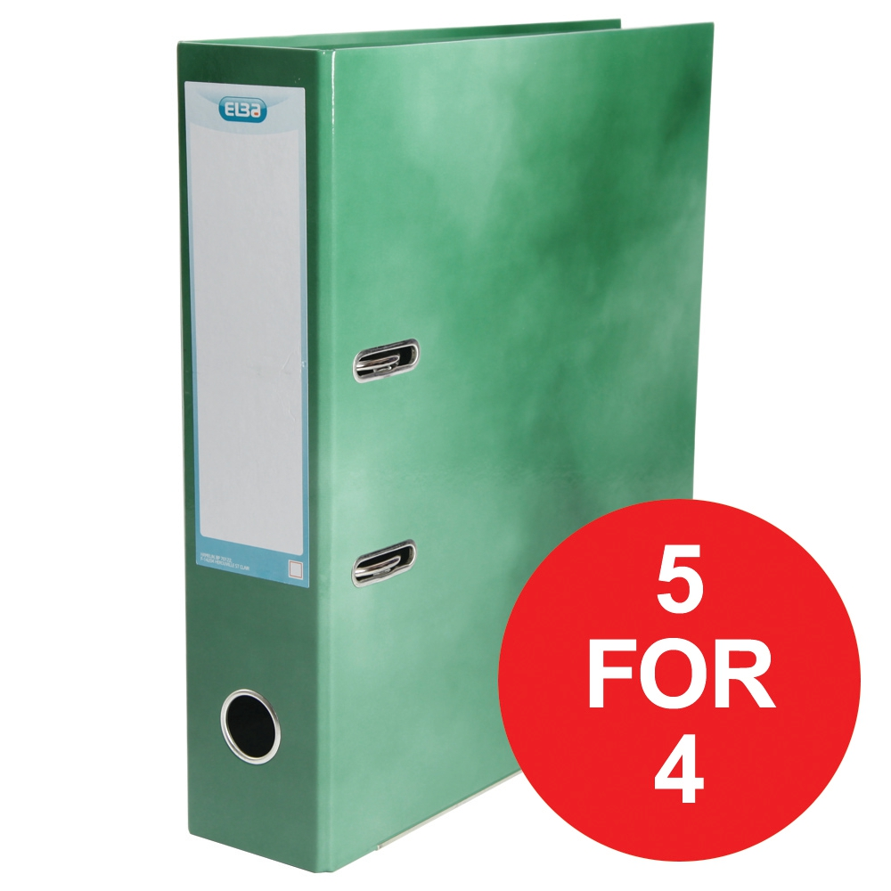Elba Lever Arch File Laminated Gloss Finish 70mm Capacity A4+ Green Ref 400021005 [5 For 4] Jan-Dec 2017