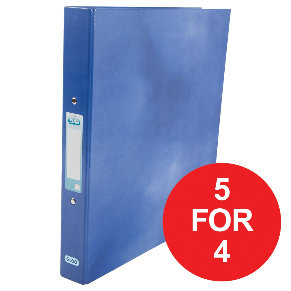Elba Ring Binder Laminated Gloss Finish 2 O-Ring 25mm  A4plus Blue Ref 400017754 [5 For 4] Jan-Dec 2017
