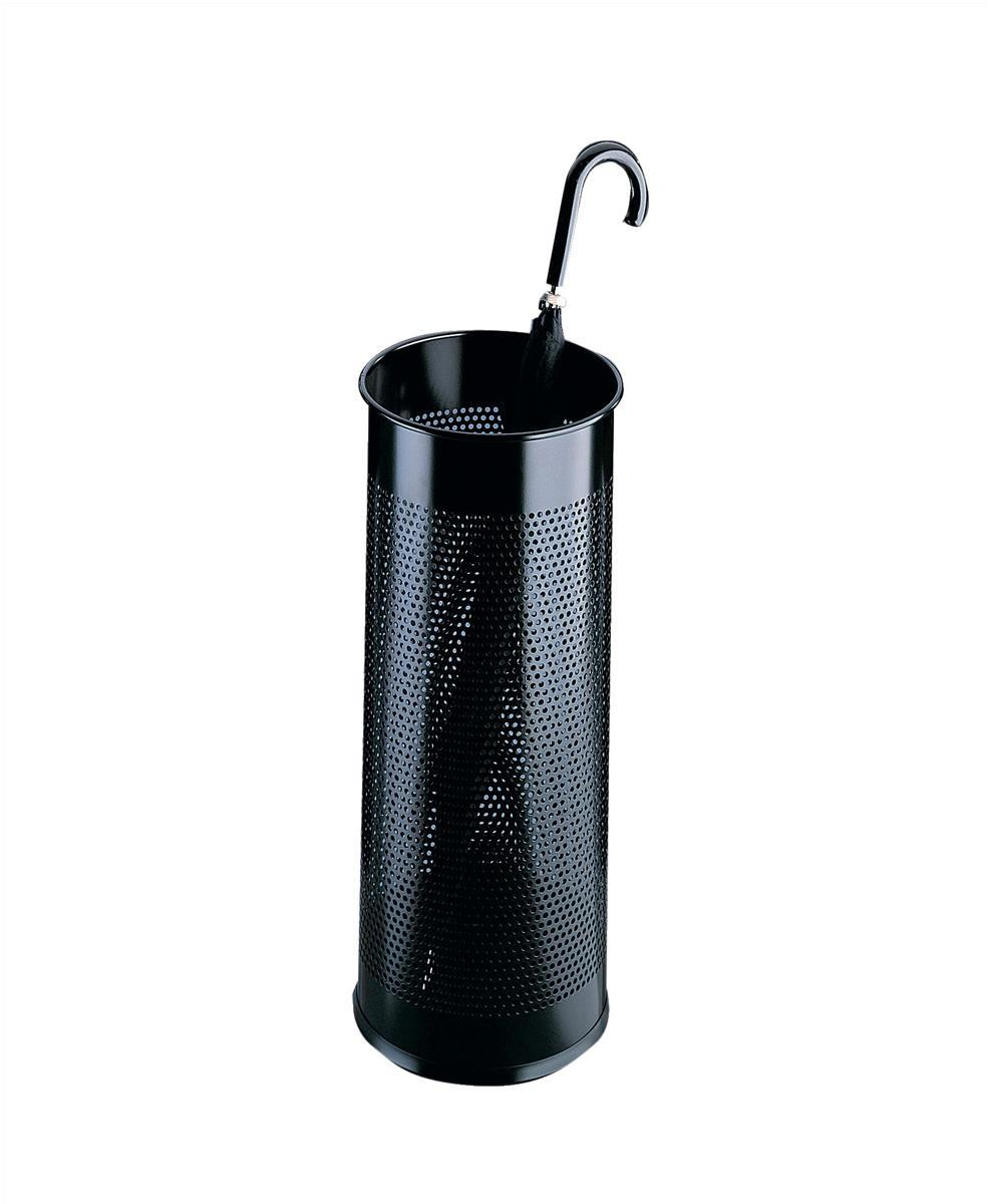 Durable Umbrella Stand Tubular Metal Perforated 28.5 Litres Black Ref 3350/01