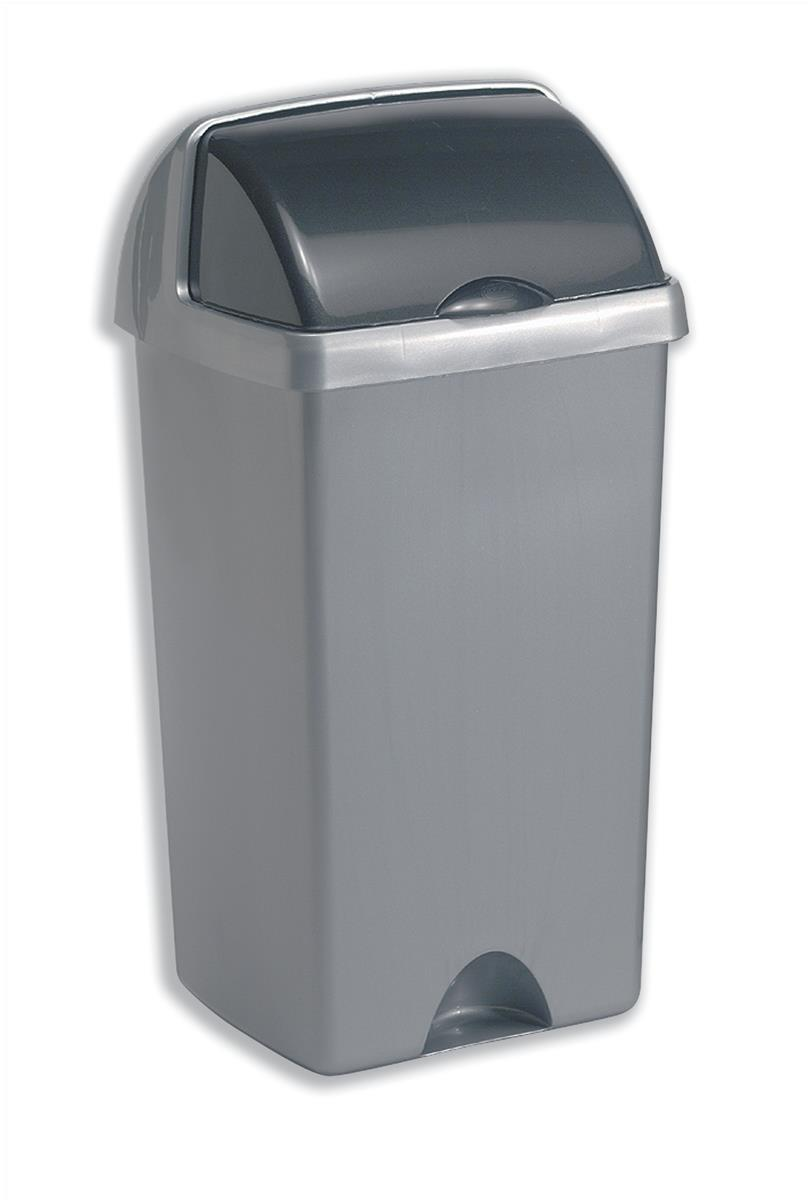 Addis Roll Top Bin Plastic 48 Litres Metallic Silver