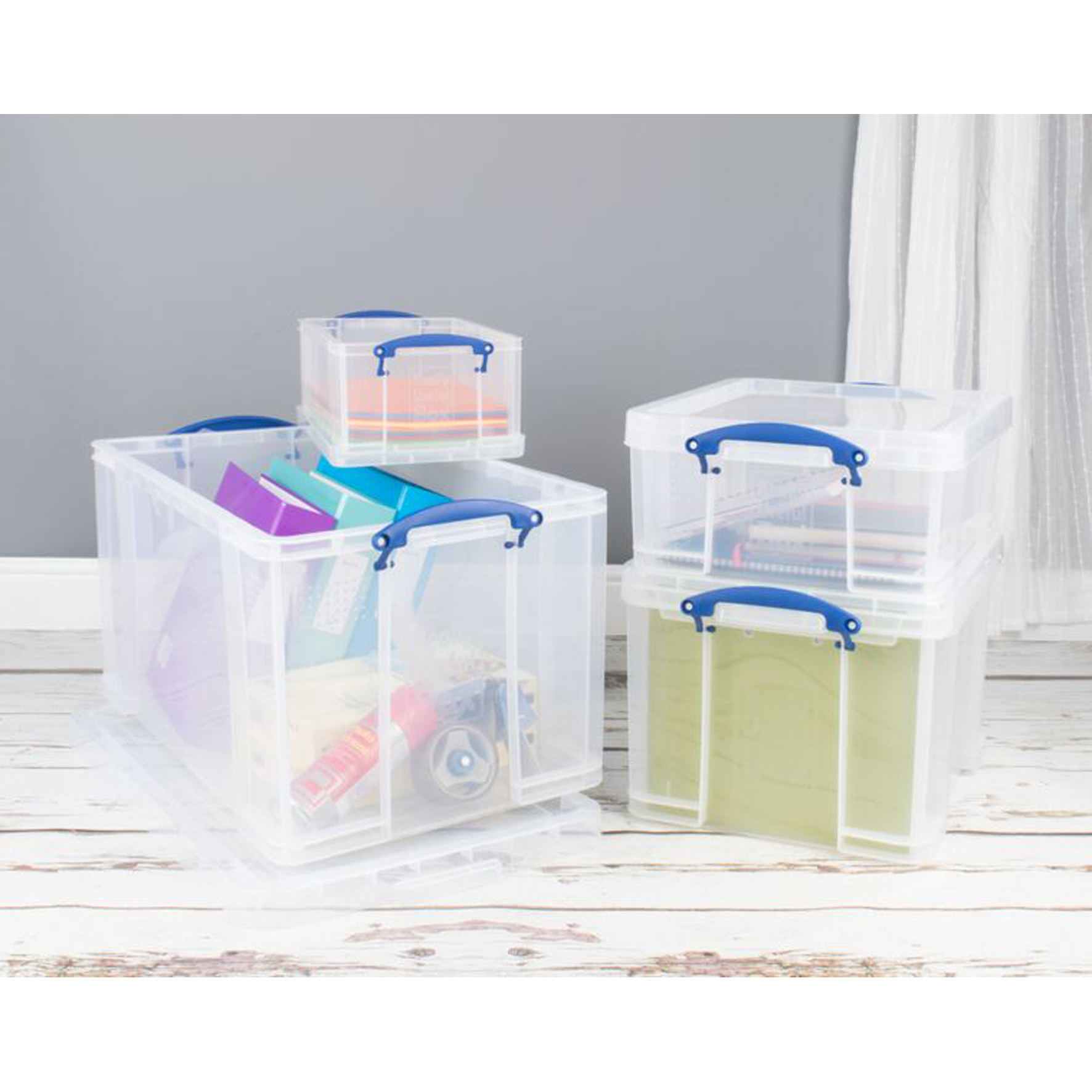 Really Useful Storage Box Plastic Lightweight Robust Stackable 9 Litre W255xD395xH155mm Clear Ref 9C