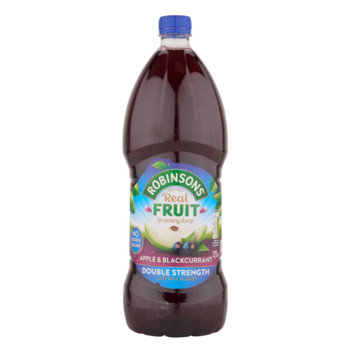 Cold Drinks Robinsons Squash Double Concentrate No Added Sugar 1.75 Litres Apple & Blackcurrant Ref 200660 Pack 2