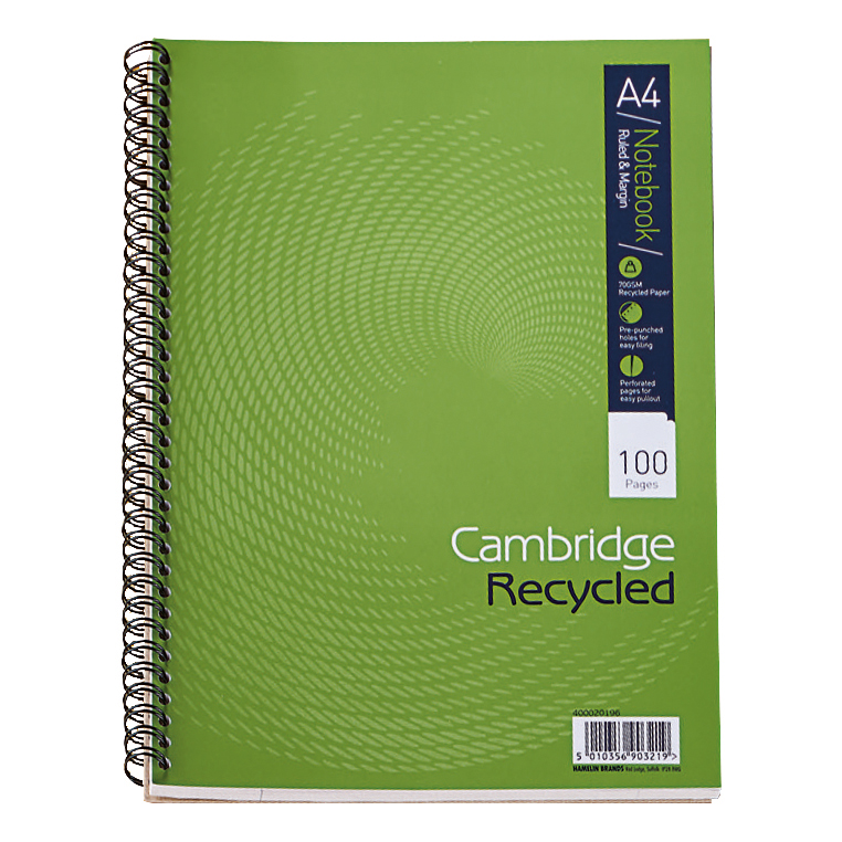 Cambridge Recycled Nbk Wirebound 70gsm Ruled Margin Perf Punched 4 Holes 100 pp A4 Ref 400020196 [Pack 5]