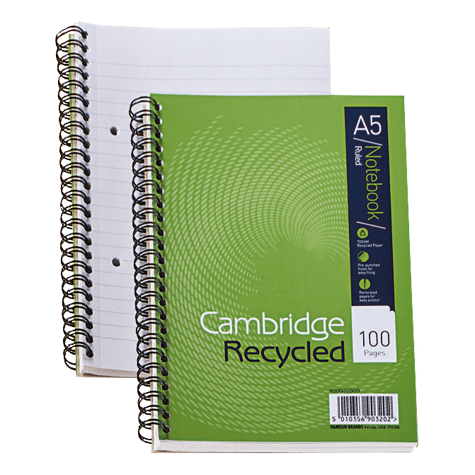 Cambridge Recycled Notebook Wirebound 70gsm Ruled Perf Punched 2 Holes100pp A5 Ref 400020509 [Pack 5]