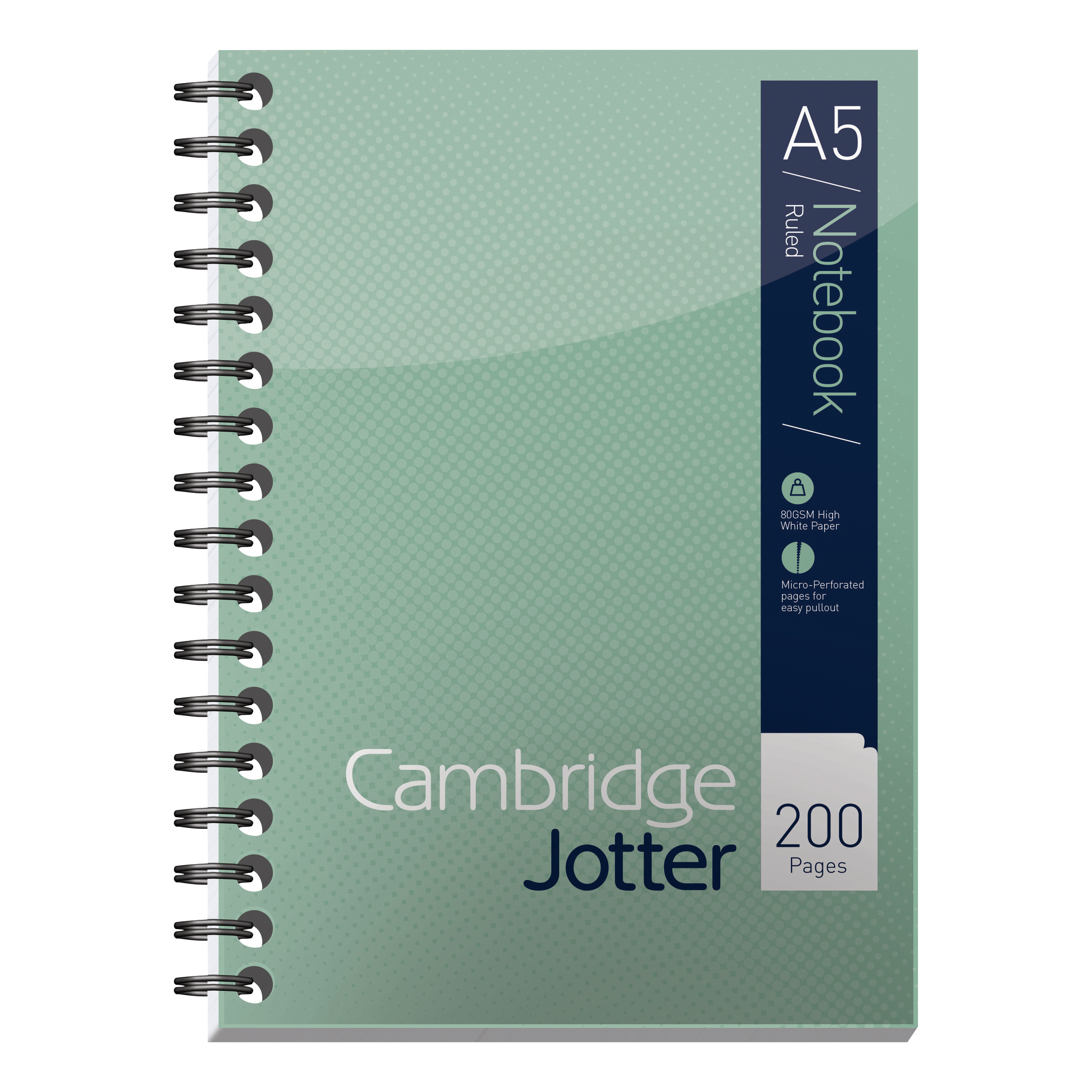 Spiral Note Books Cambridge Jotter Notebook Wirebound 80gsm Ruled Margin and Perforated 200pp A5 Ref 400039063 Pack 3