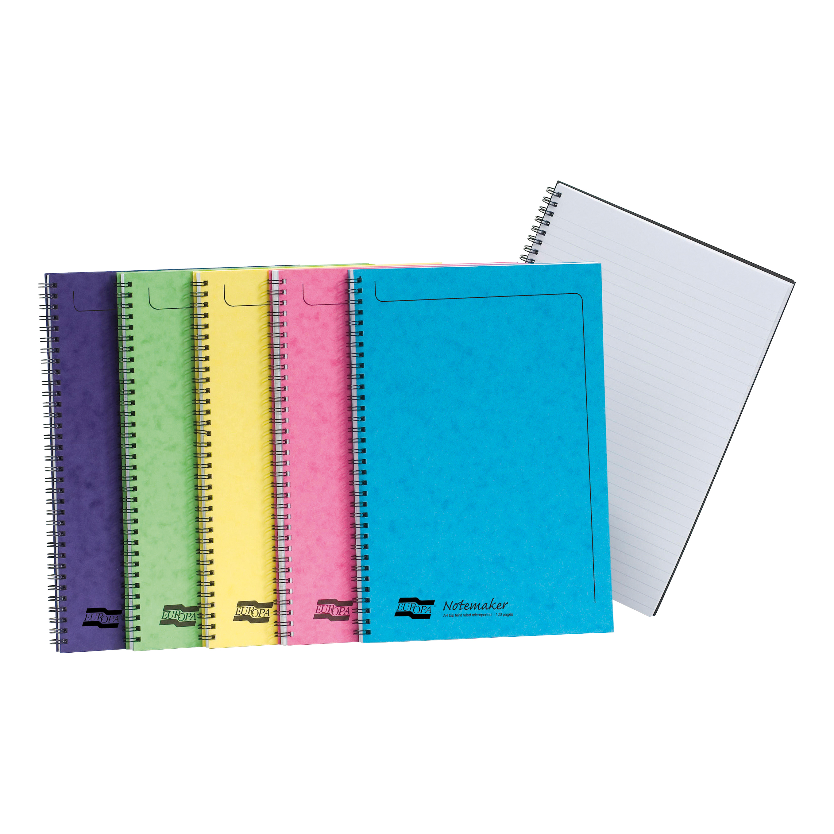 Europa Notebook Sidebound Twin Wire 90gsm Ruled Micro Perf 120pp A4 Assortd Colours C Ref 3154Z [Pack 10]