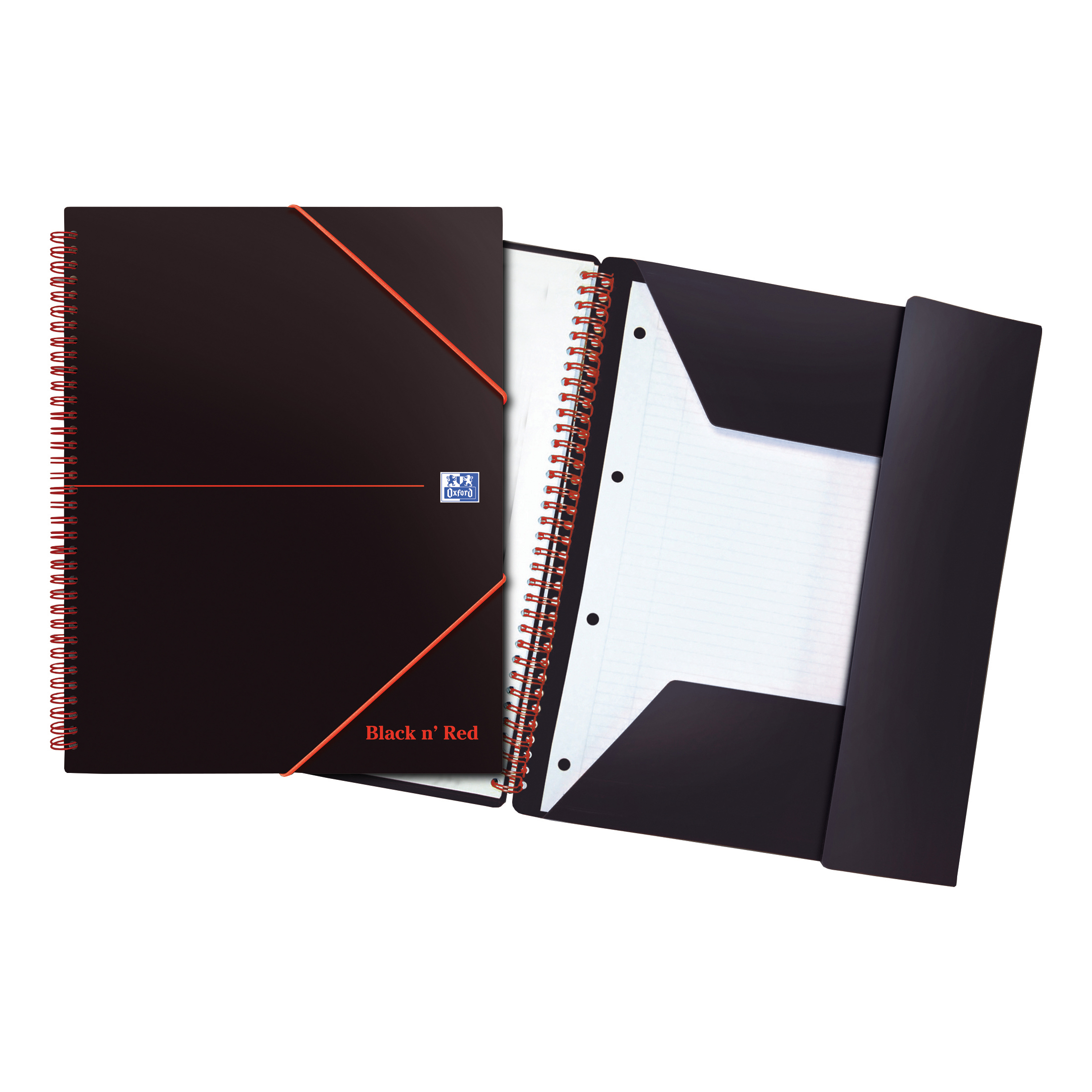 Spiral Note Books Black n Red Meeting Bk Poly Wbnd 90gsm Ruled Margin Perf Punched 4 Holes 160pp A4+ Ref 100104323 Pack 5
