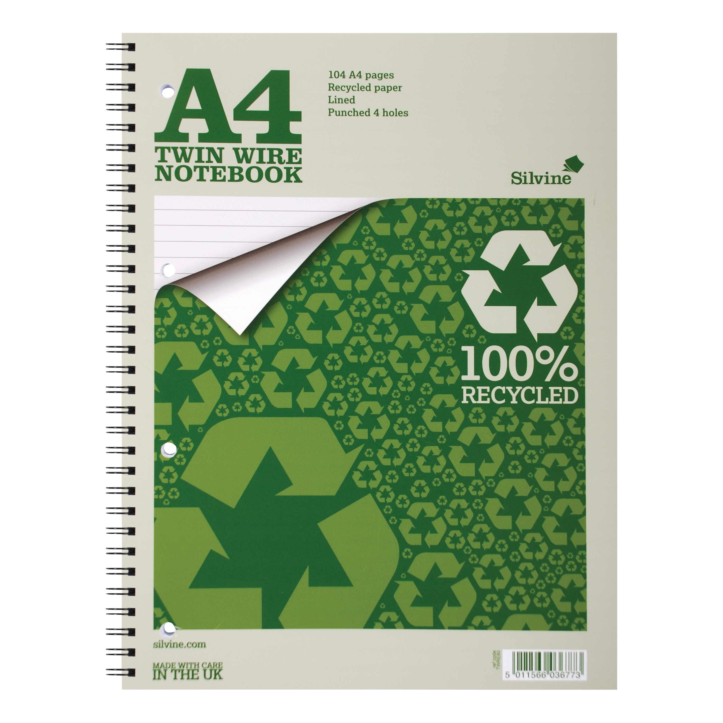 Silvine Recycled Notebook Wirebnd 70gsm Ruled Margin Perf Punched 4 Holes 104pp A4 Ref TWRE80 Pack 12