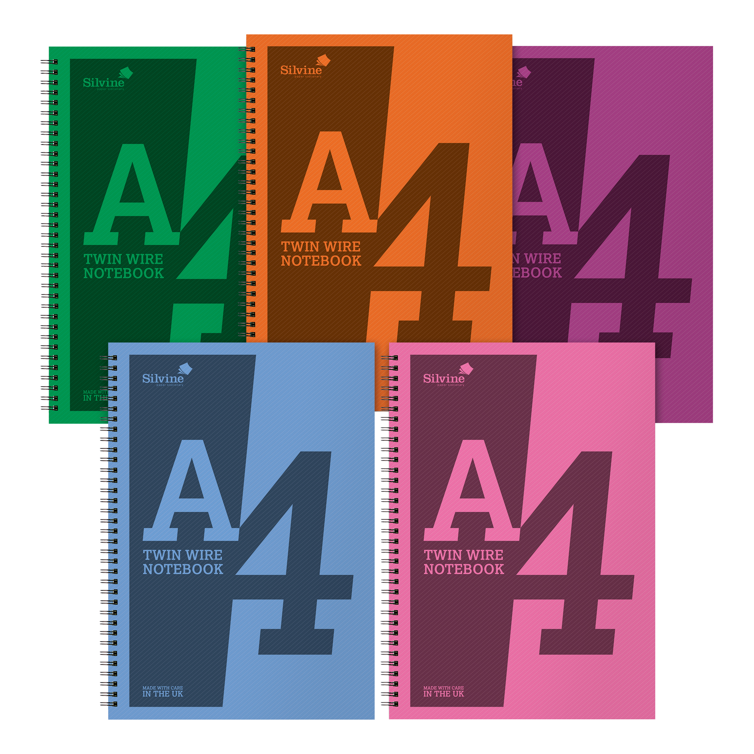 Paper pads or notebooks Silvine Notebook Polypropylene Wirebound 56gsm Ruled 160pp A4 Assorted Ref POLYA4ACPack 5