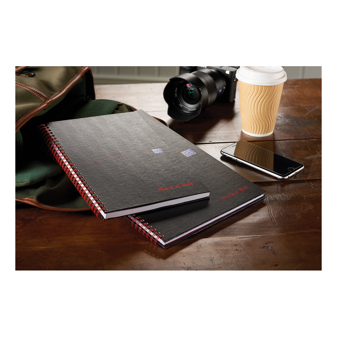 Black n Red Notebook Wirebound 90gsm Ruled Margin Perforated 140pp A4+ Matt Black Ref 100080218 Pack 5