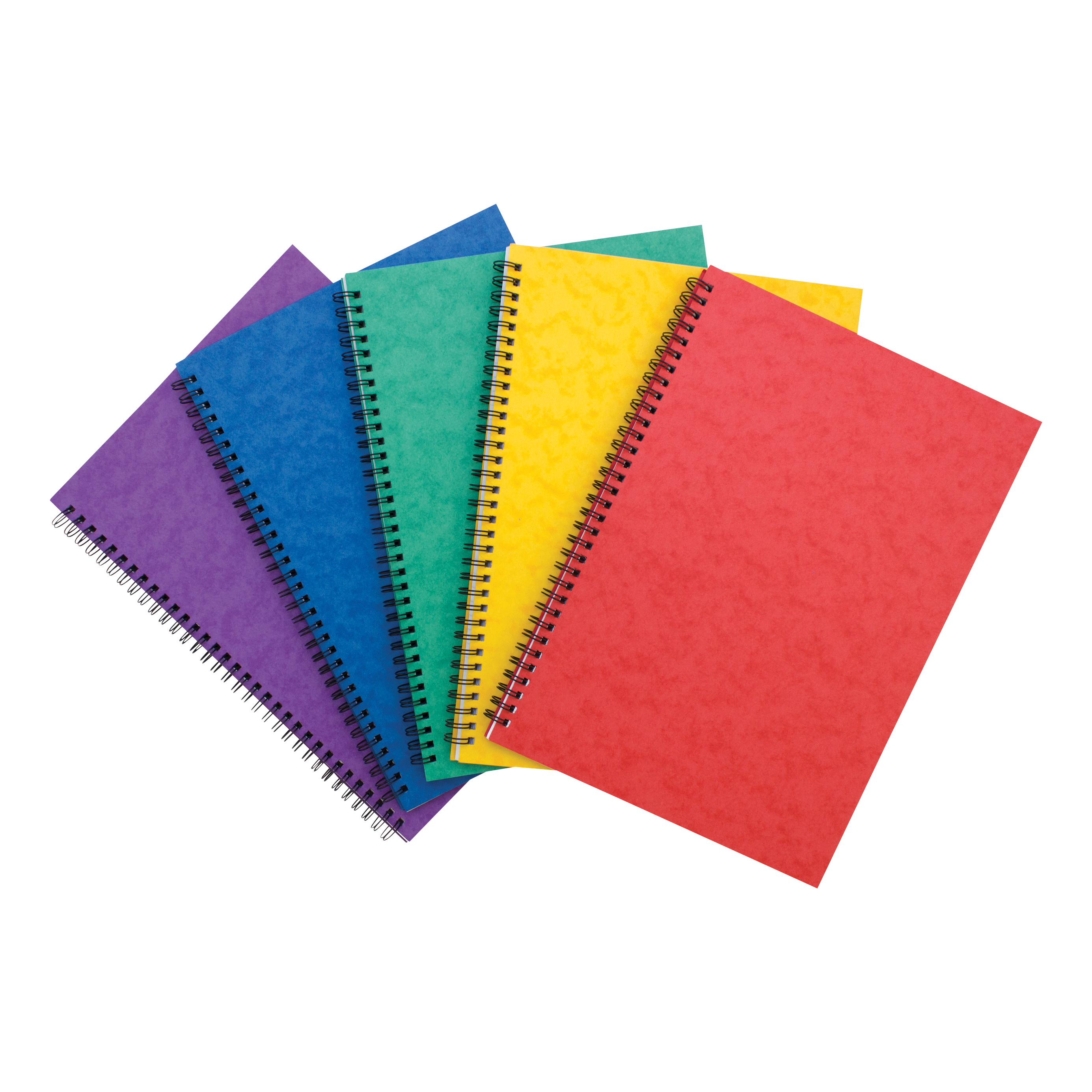 Notebook Side Wirebound 80gsm Ruled and Perforated 120pp A4 Assorted Colour A Pack 10