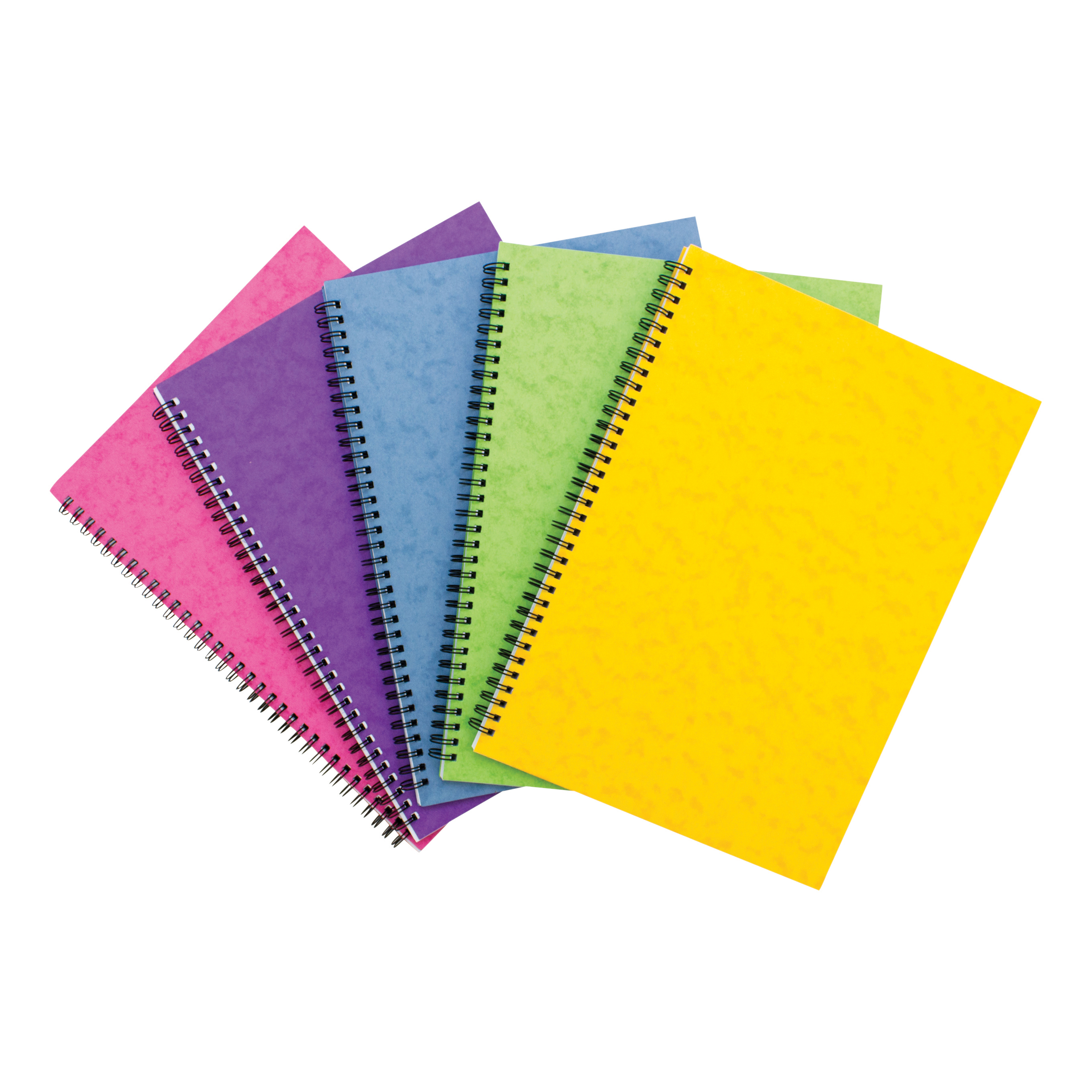 Notebook Side Wirebound 80gsm Ruled and Perforated 120pp A4 Assorted Colour C Pack 10