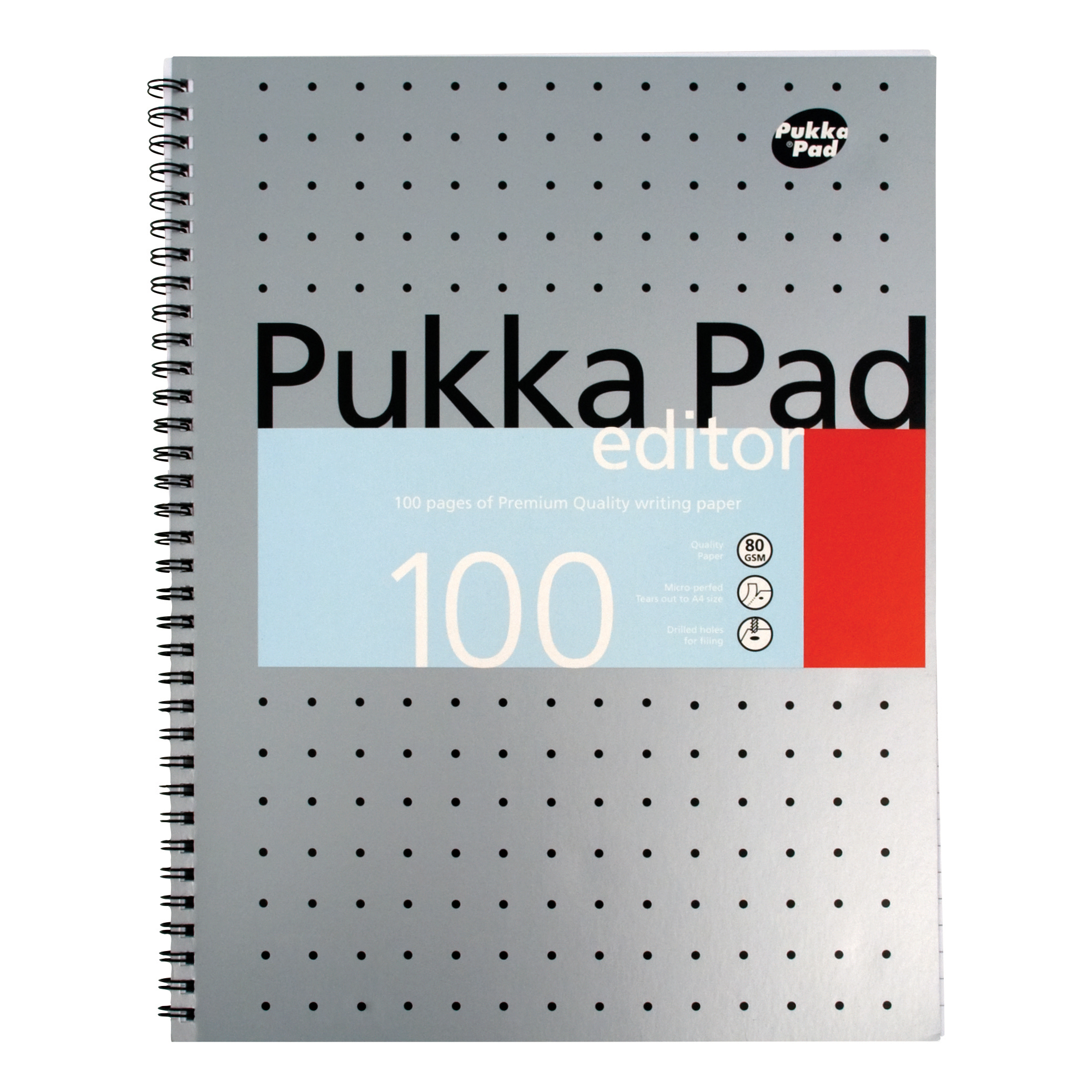 Pukka Pad Metallic Edtr Nbk Wbnd 80gsm Ruled Margin Perf Punch 4 Hole 100pp A4+ Silver Ref EM003 Pack 3