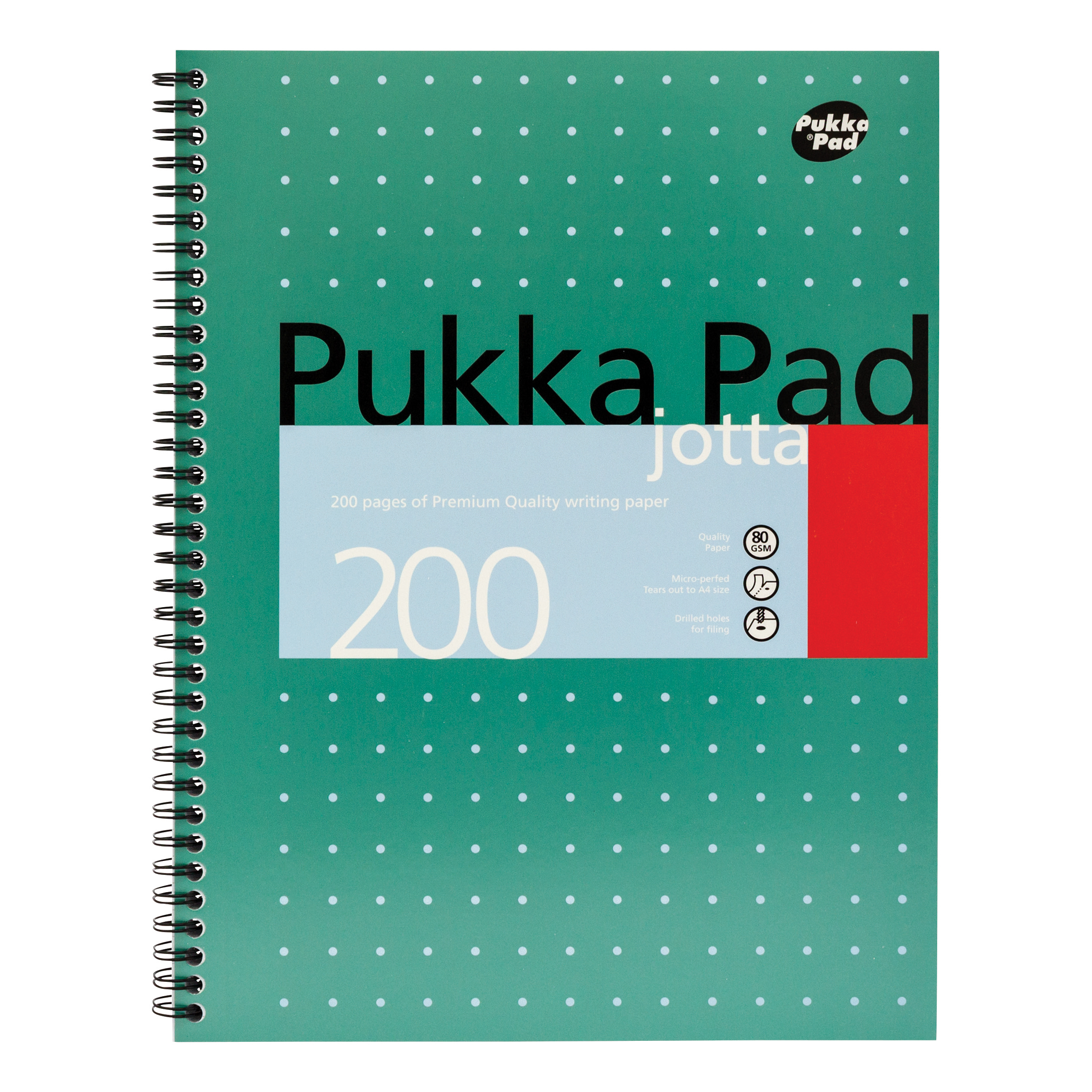 Pukka Pad Mettallic Jotta Nbk Wirebound 80gsm Ruled Margin Perf Punch 4 Hole 200pp A4+ Ref JM018 Pack 3
