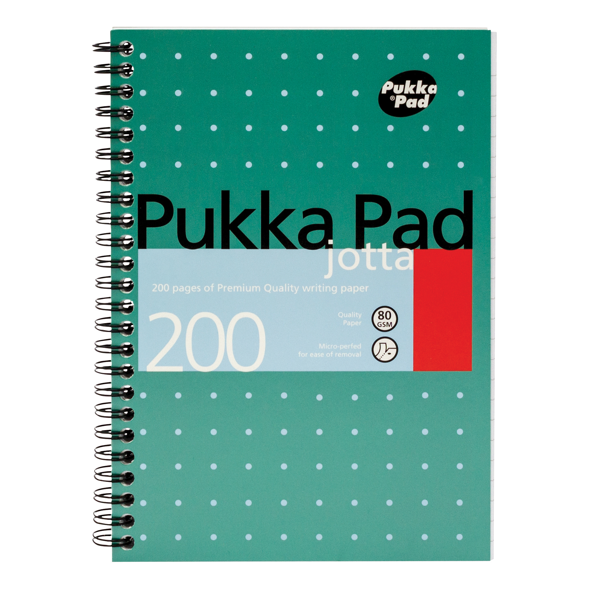 Pukka Pad Metallic Jotta Nbk Wirebound 80gsm Ruled Perforated 200pp A5 Metallic Green Ref JM021 Pack 3