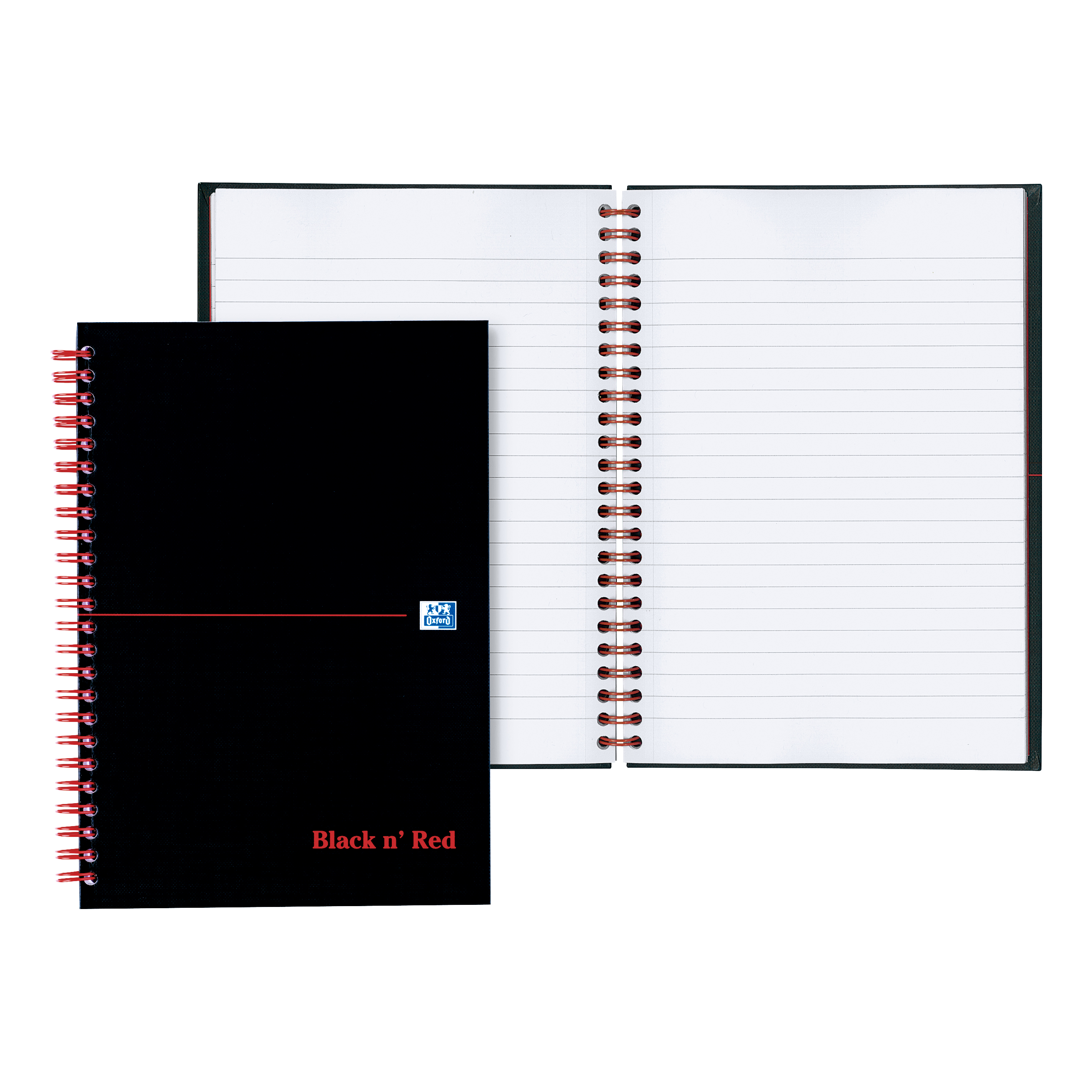 Black n Red Notebook Wirebound 90gsm Ruled and Perforated 140pp A6 Glossy Black Ref 100080448 Pack 5