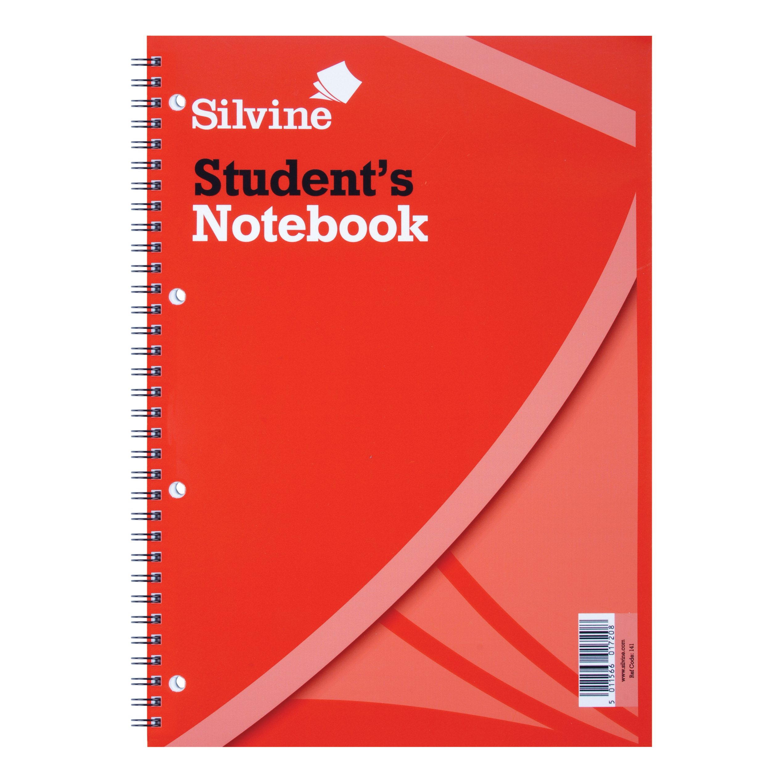 Silvine Student Notebook Wirebound 75gsm Narrow Ruled Punched 4 Holes 120pp A4 Red Ref 141 Pack 12