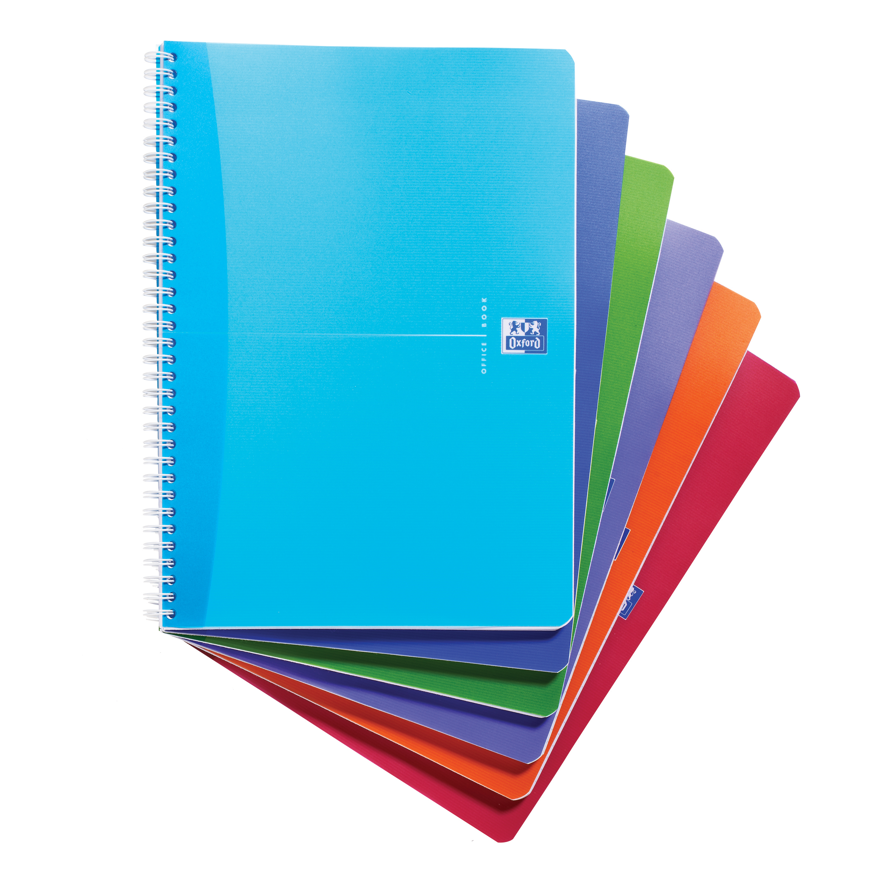 Oxford Office Notebook Poly Wirebound 90gsm Smart Ruled 180pp A4 Assorted Colour Ref 100104241 Pack 5