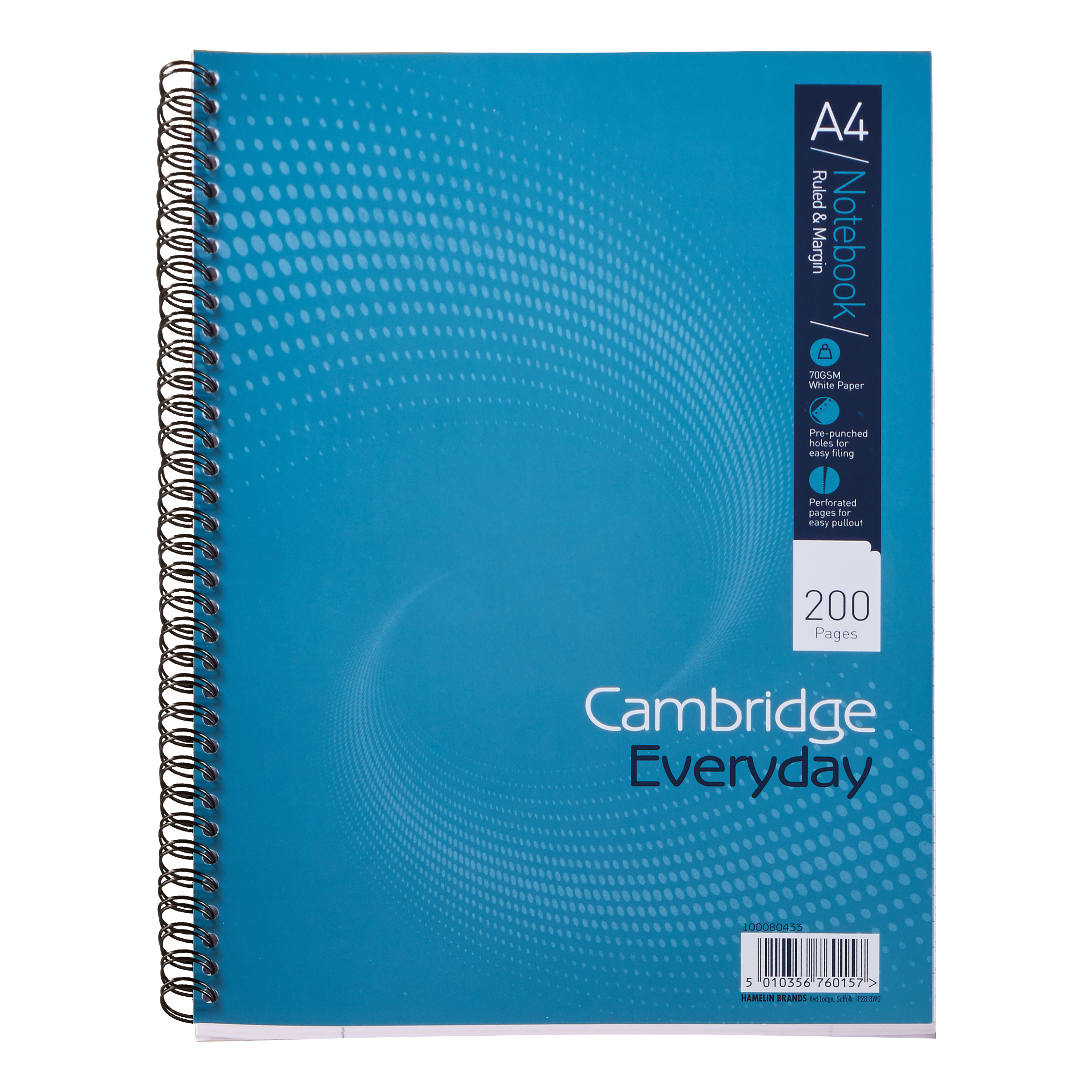 Cambridge Everyday Nbk Wirebound 70gsm Ruled Margin Perf Punched 4 Holes 200pp A4+ Ref 100080433 [Pack 3]