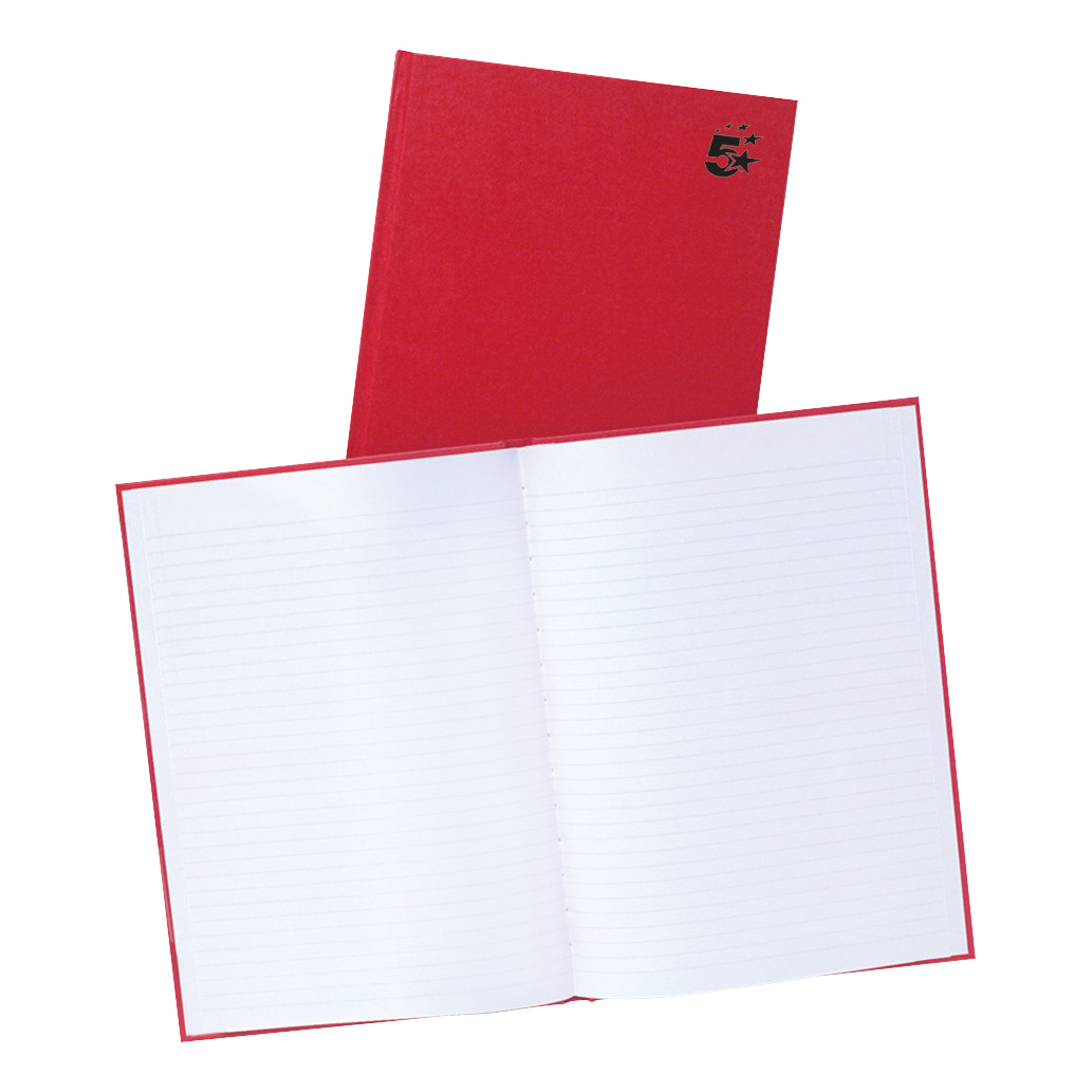5 Star Office Manuscript Notebook Casebound 70gsm Ruled 192pp A4 Red [Pack 5]