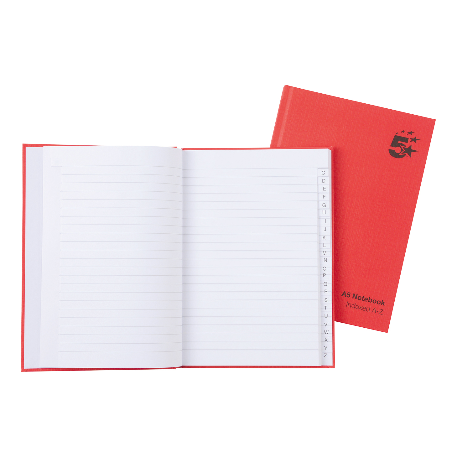 Image for 5 Star Office Manuscript Notebook Casebound 70gsm Ruled and Indexed 192pp A5 Red [Pack 5]