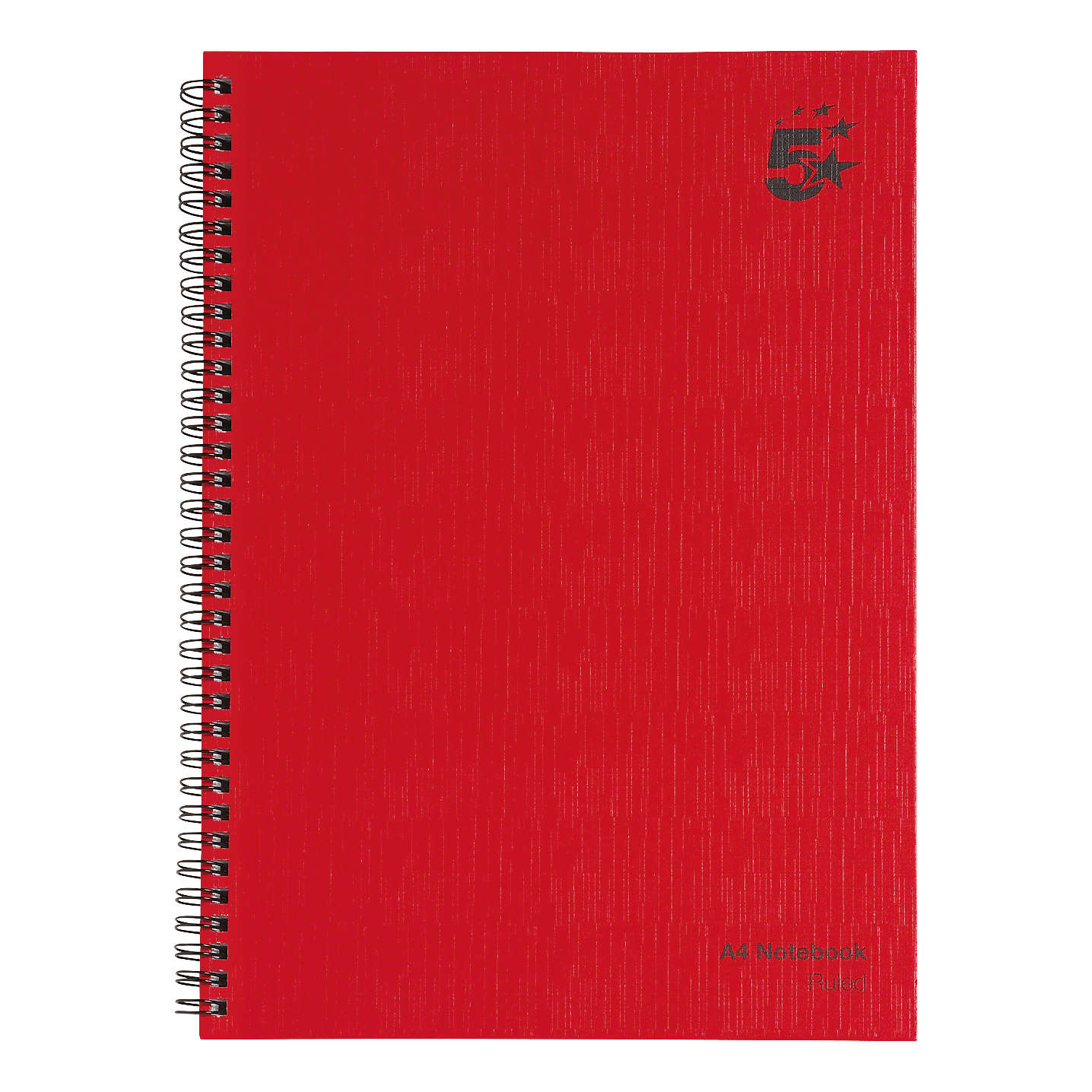 5 Star Office Manuscript Notebook Wirebound 70gsm Ruled 160pp A4 Red Pack 5