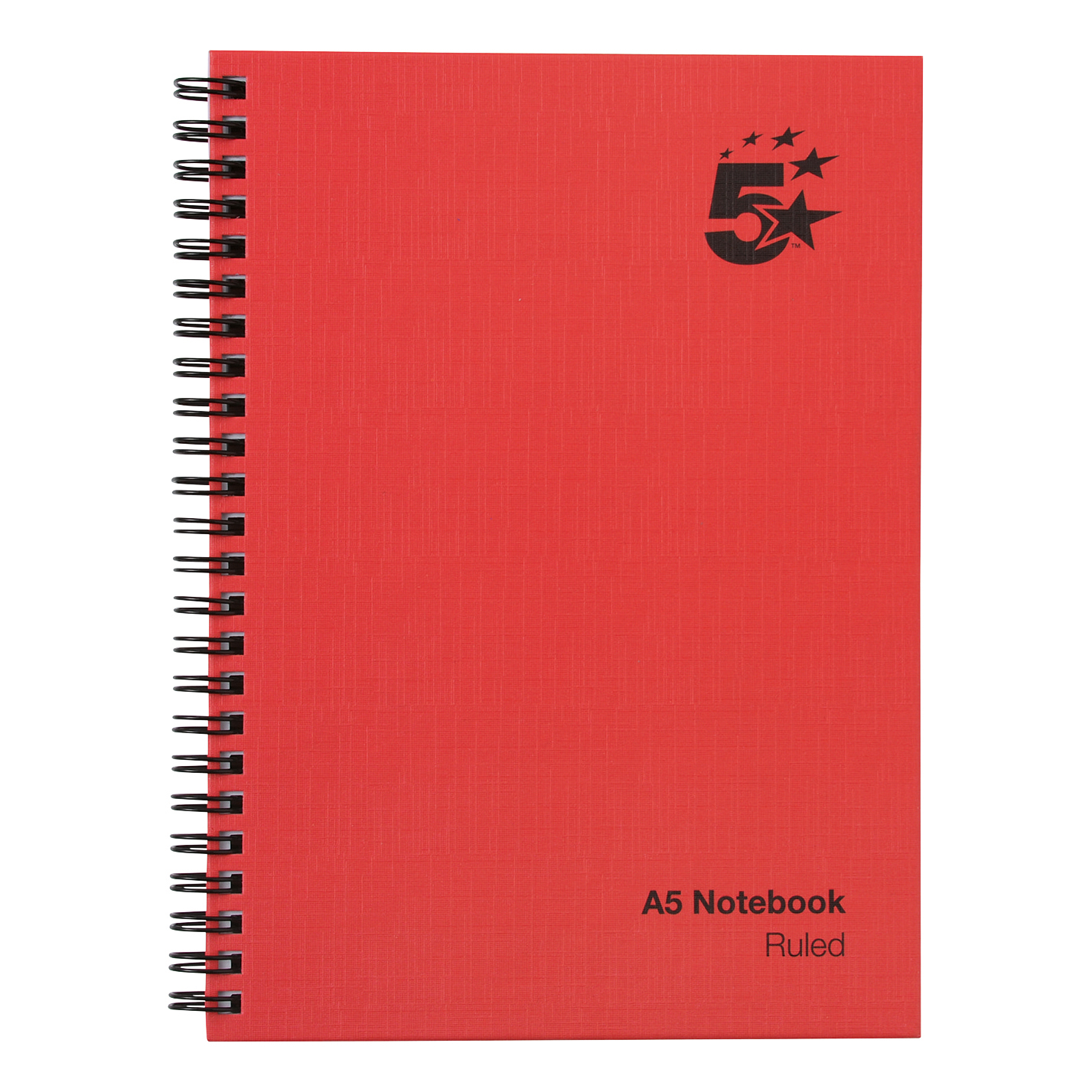 5 Star Office Manuscript Notebook Wirebound 70gsm Ruled 160pp A5 Red Pack 5