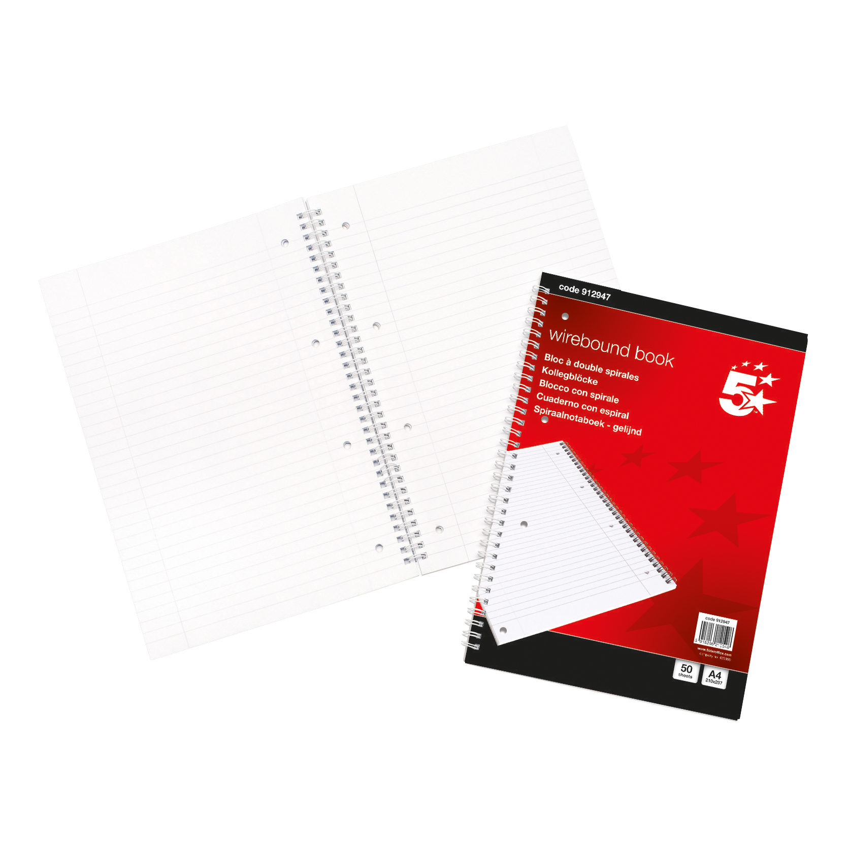 Spiral Note Books 5 Star Office Notebook Wirebound 70gsm Ruled and Margin Perforated Punched 4 Holes 100pp A4 Red Pack 10