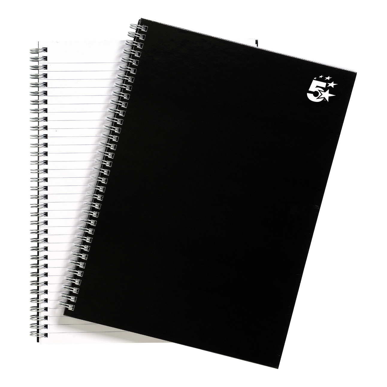 Spiral Note Books 5 Star Office Notebook Wirebound 80gsm Ruled 140pp A4 Black Pack 5