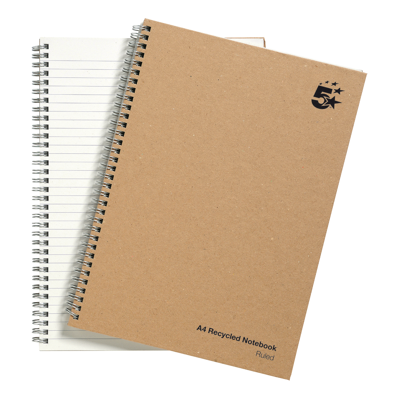 Spiral Note Books 5 Star Eco Notebook Wirebound 80gsm Ruled Recycled 160pp A4 Buff Pack 5