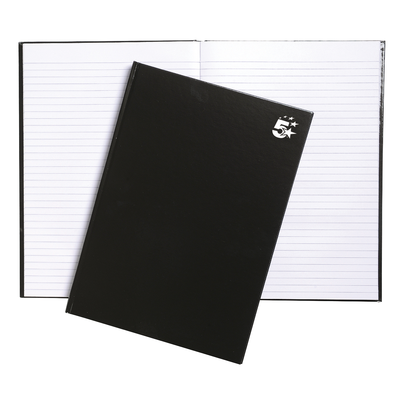 5 Star Office Notebook Casebound 75gsm Ruled 160pp A4 Black Pack 5