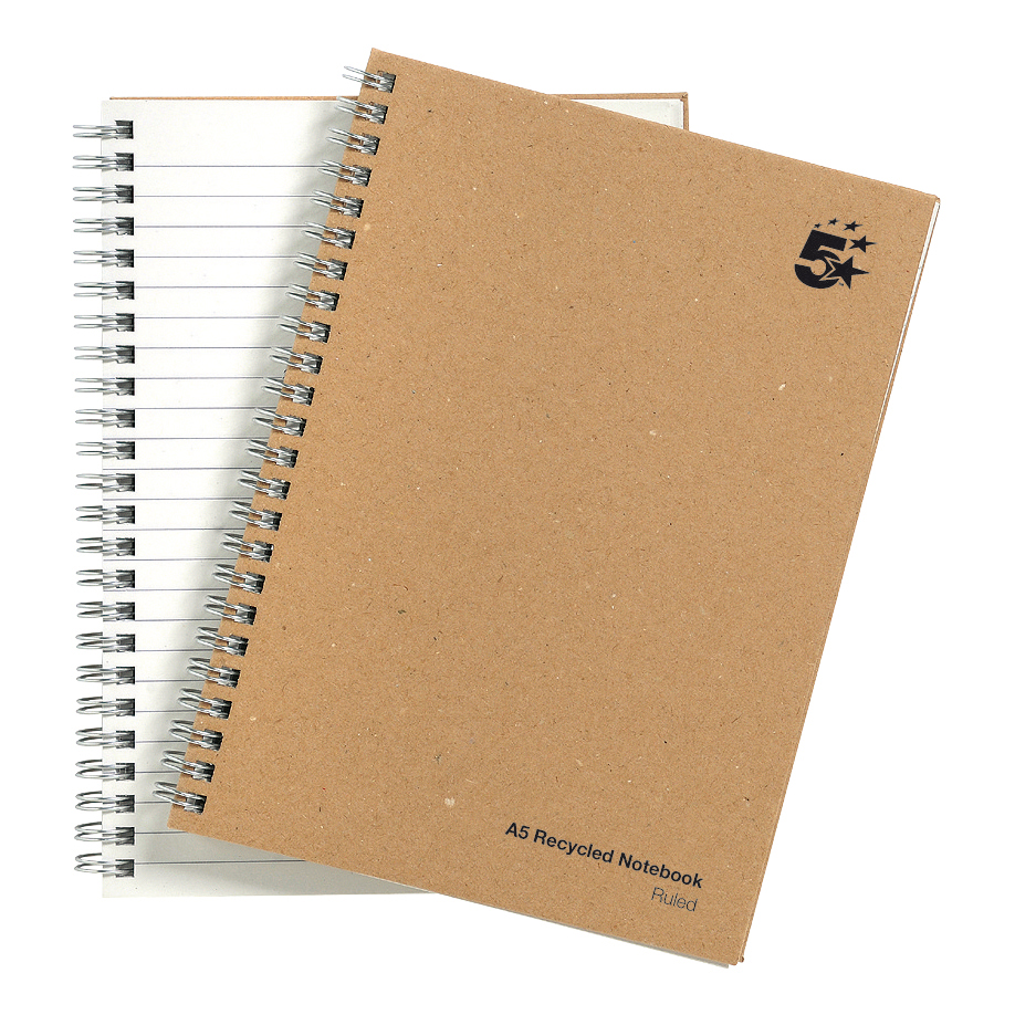 5 Star Eco Notebook Wirebound 80gsm Ruled Recycled 160pp A5 Buff Pack 5